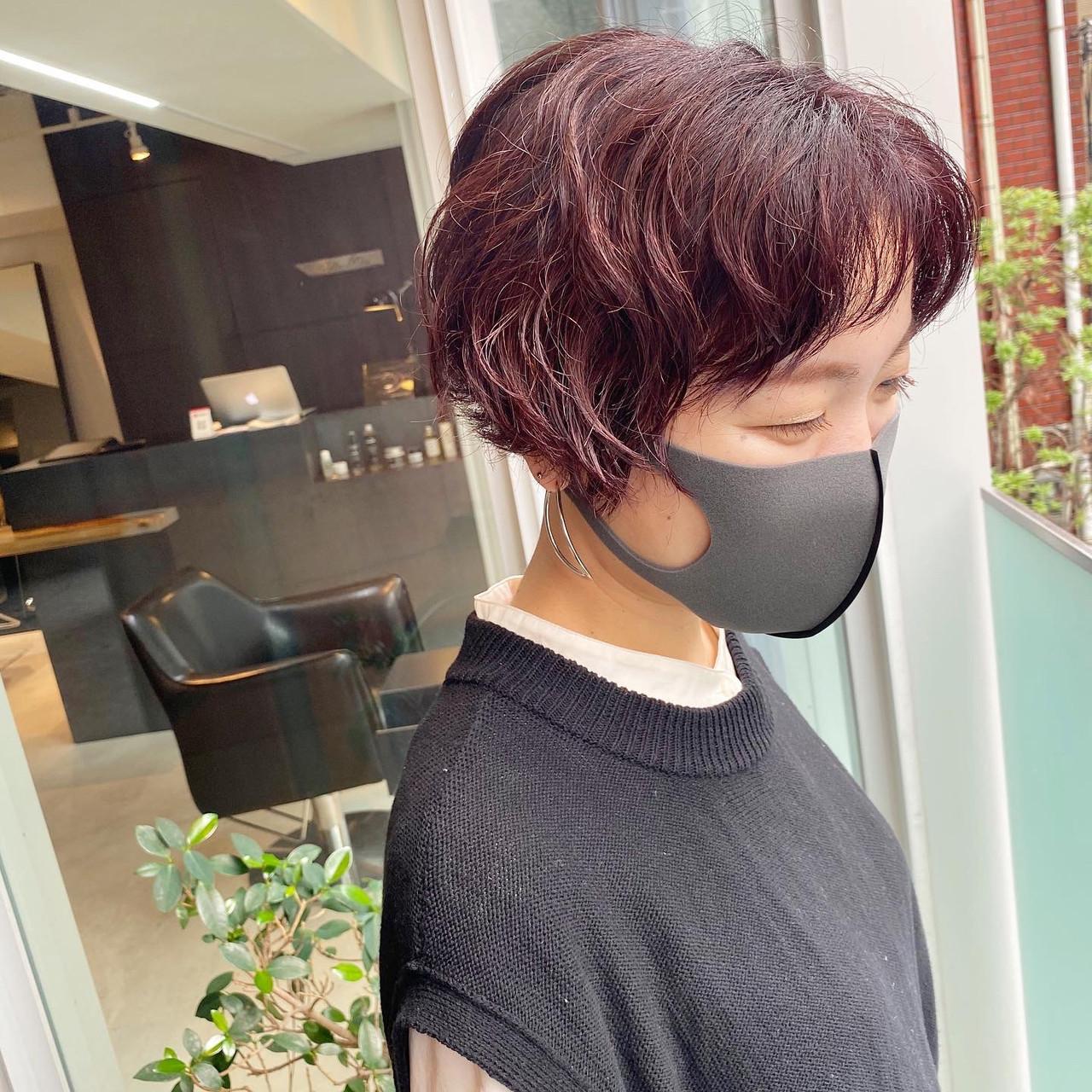 レッドカラー ストリート ハンサムショート くせ毛 ヘアスタイルや髪型の写真・画像