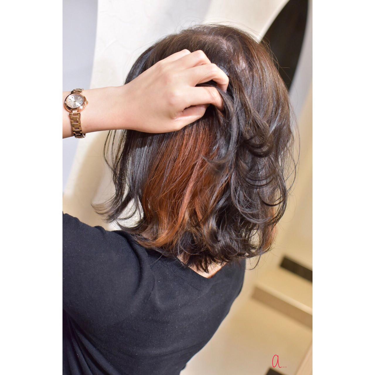 インナーカラー ガーリー ボブ イヤリングカラー ヘアスタイルや髪型の写真・画像