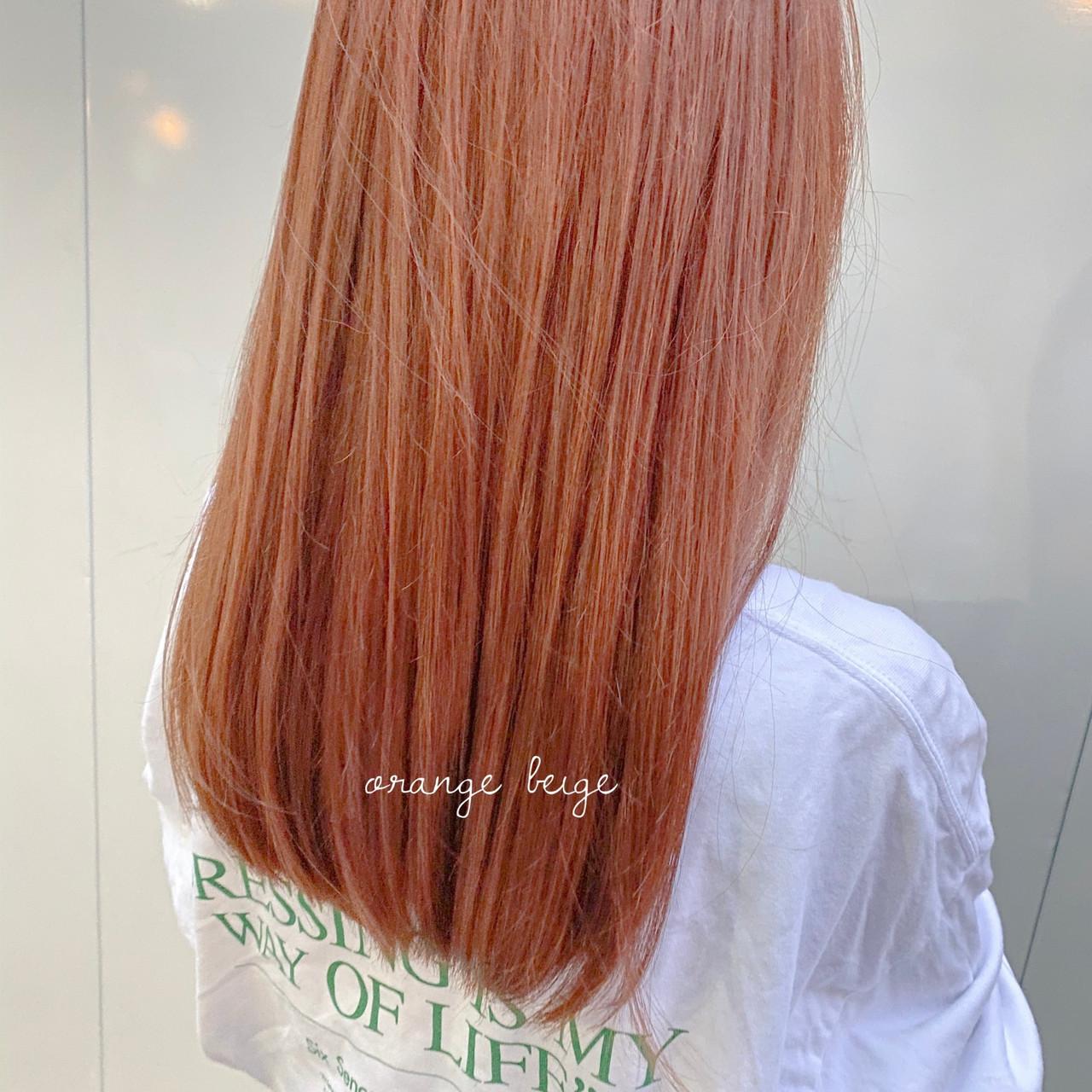 セミロング アプリコットオレンジ ブラウンベージュ インナーカラーオレンジ ヘアスタイルや髪型の写真・画像