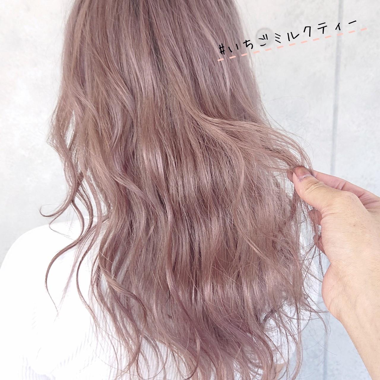 ガーリー ヘアカラー ミルクティー ピンク ヘアスタイルや髪型の写真・画像