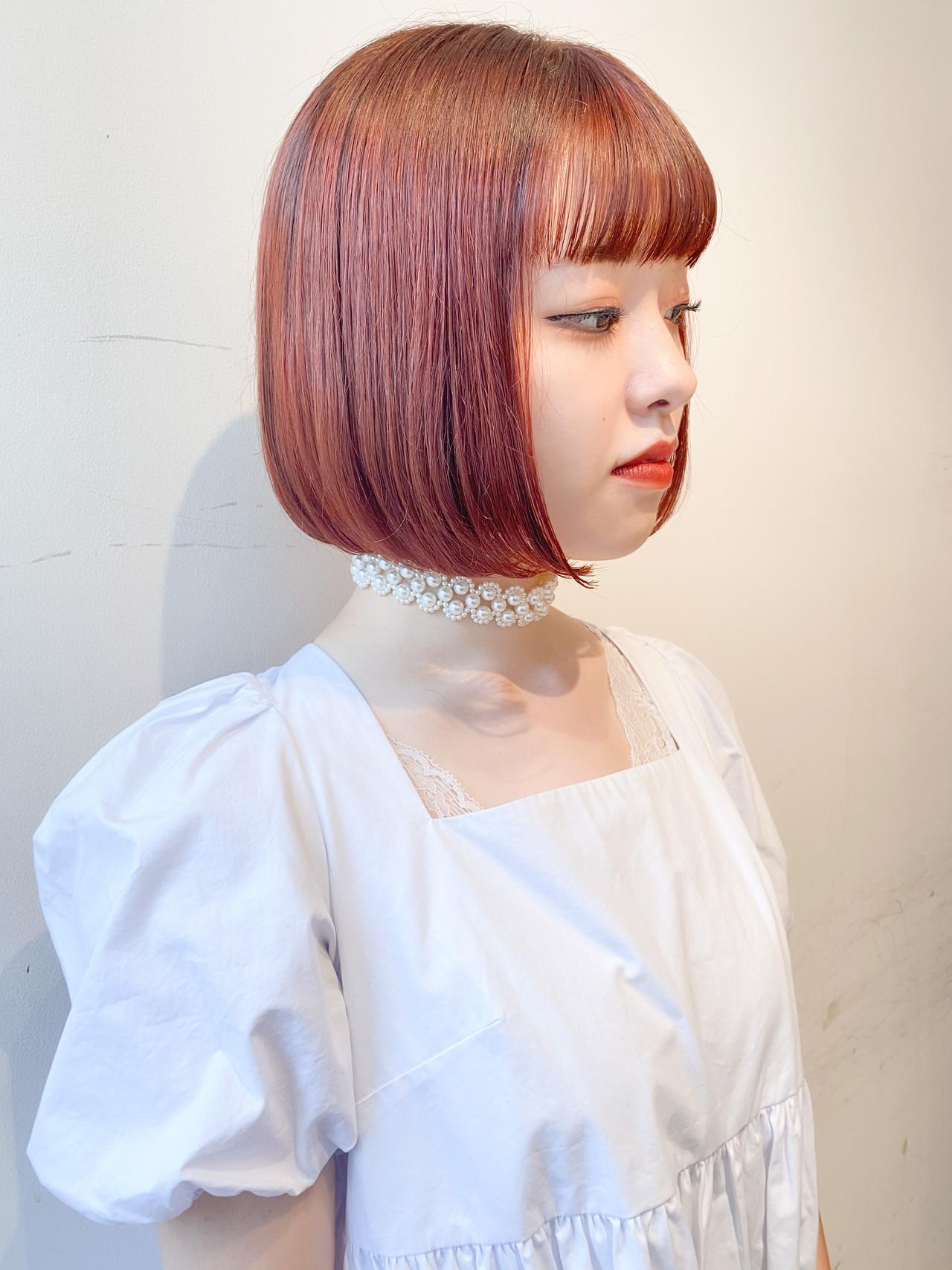 ナチュラル 切りっぱなしボブ オレンジカラー オレンジ ヘアスタイルや髪型の写真・画像