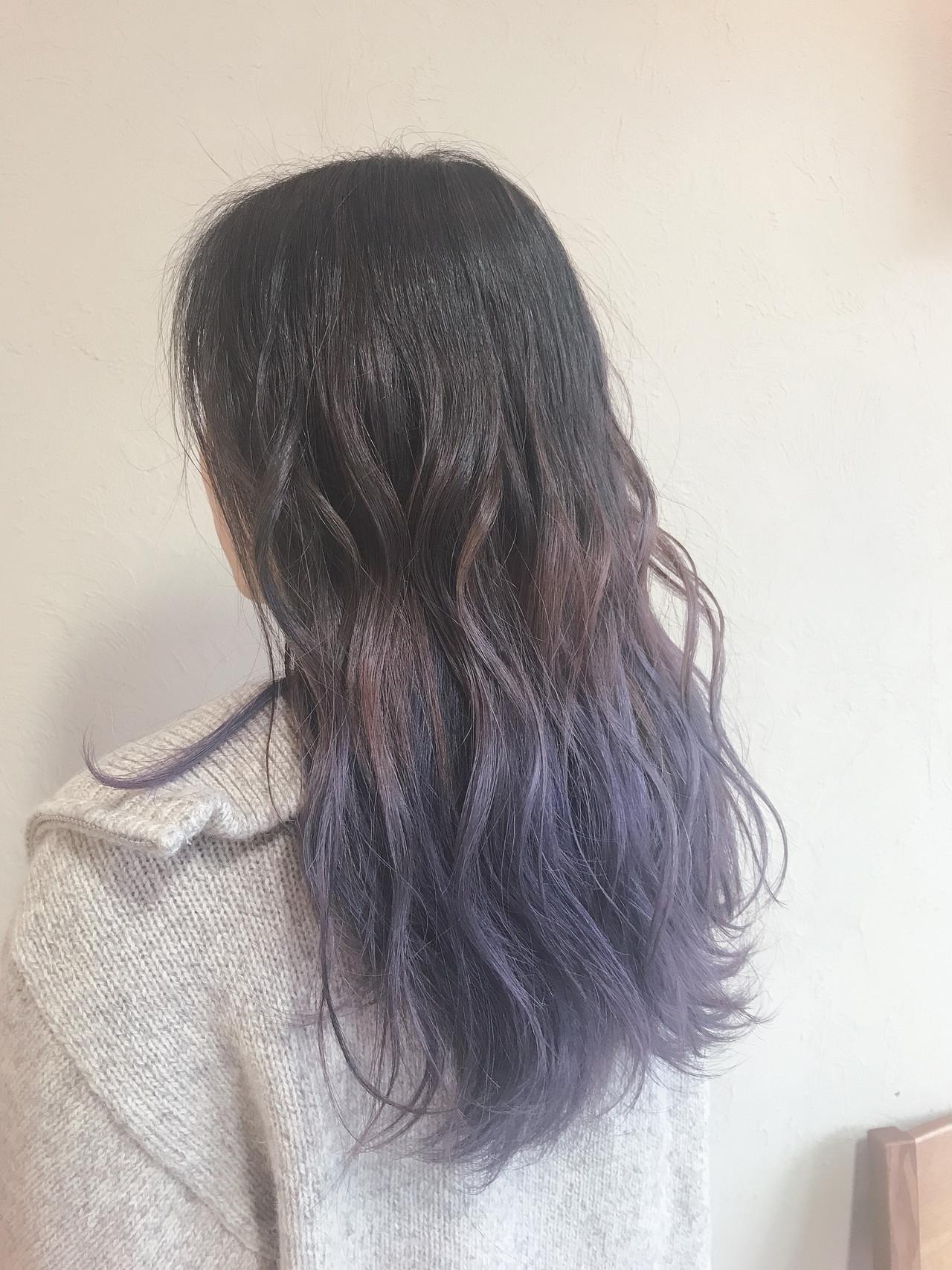 アッシュバイオレット ガーリー ブルーバイオレット グラデーションカラー ヘアスタイルや髪型の写真・画像