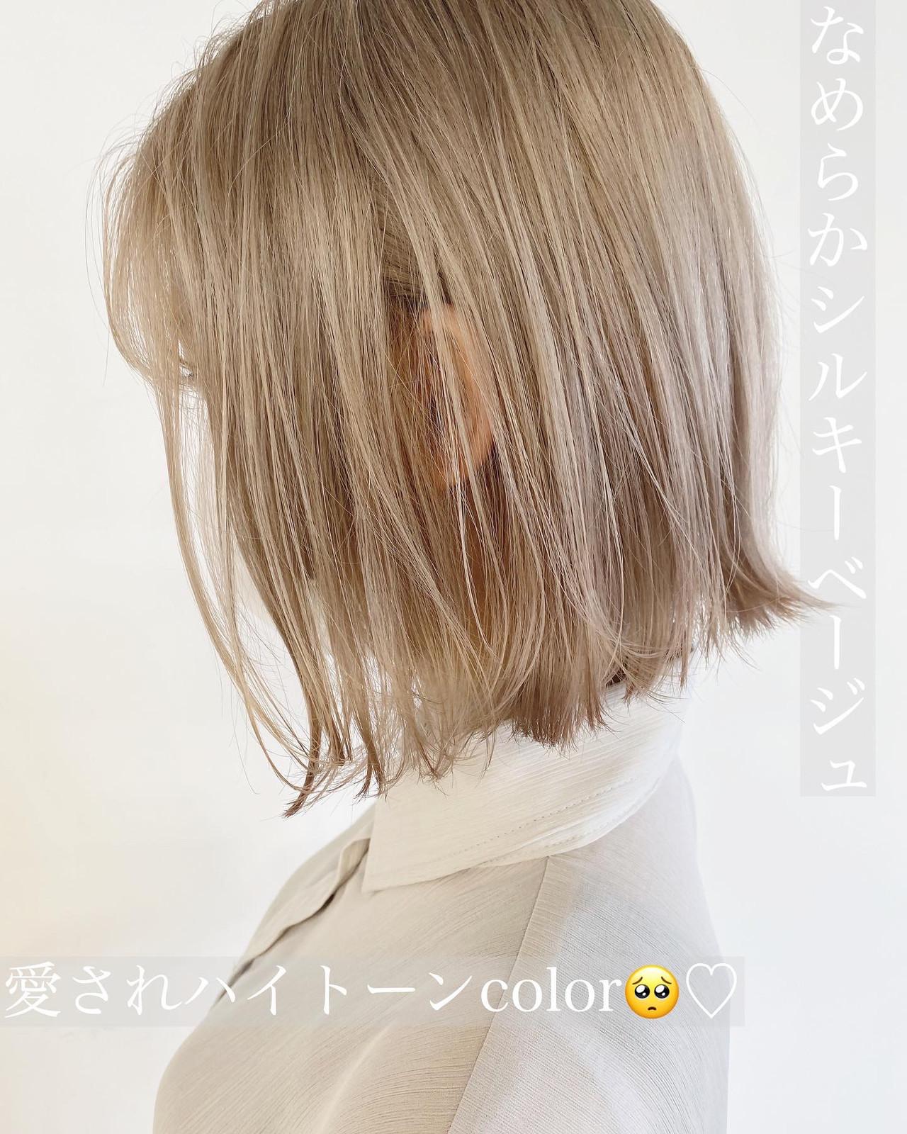 ボブ ホワイトベージュ ブリーチカラー ブロンドカラー ヘアスタイルや髪型の写真・画像