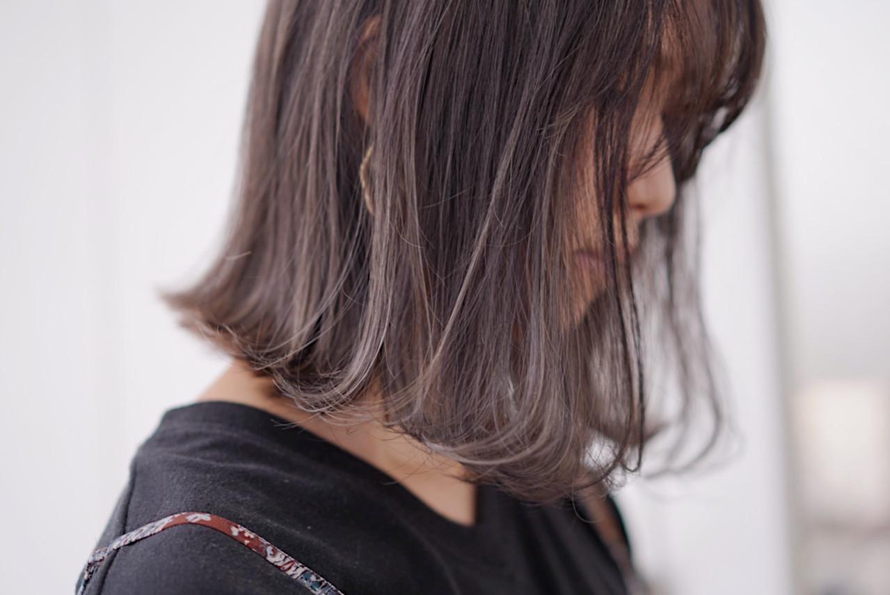 ナチュラル 極細ハイライト ボブ ハイライト ヘアスタイルや髪型の写真・画像