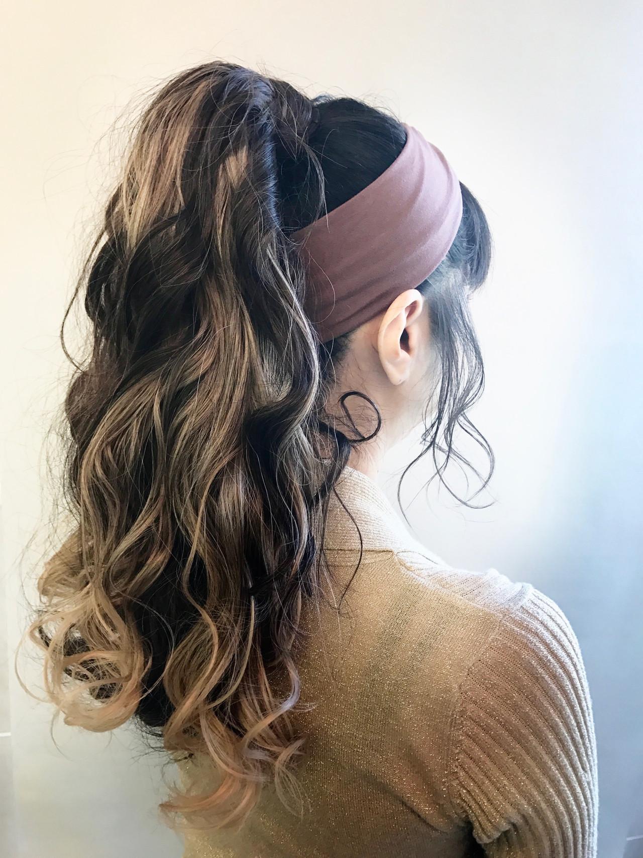 ヘアアレンジ セルフヘアアレンジ ガーリー ポニーテールアレンジ ヘアスタイルや髪型の写真・画像