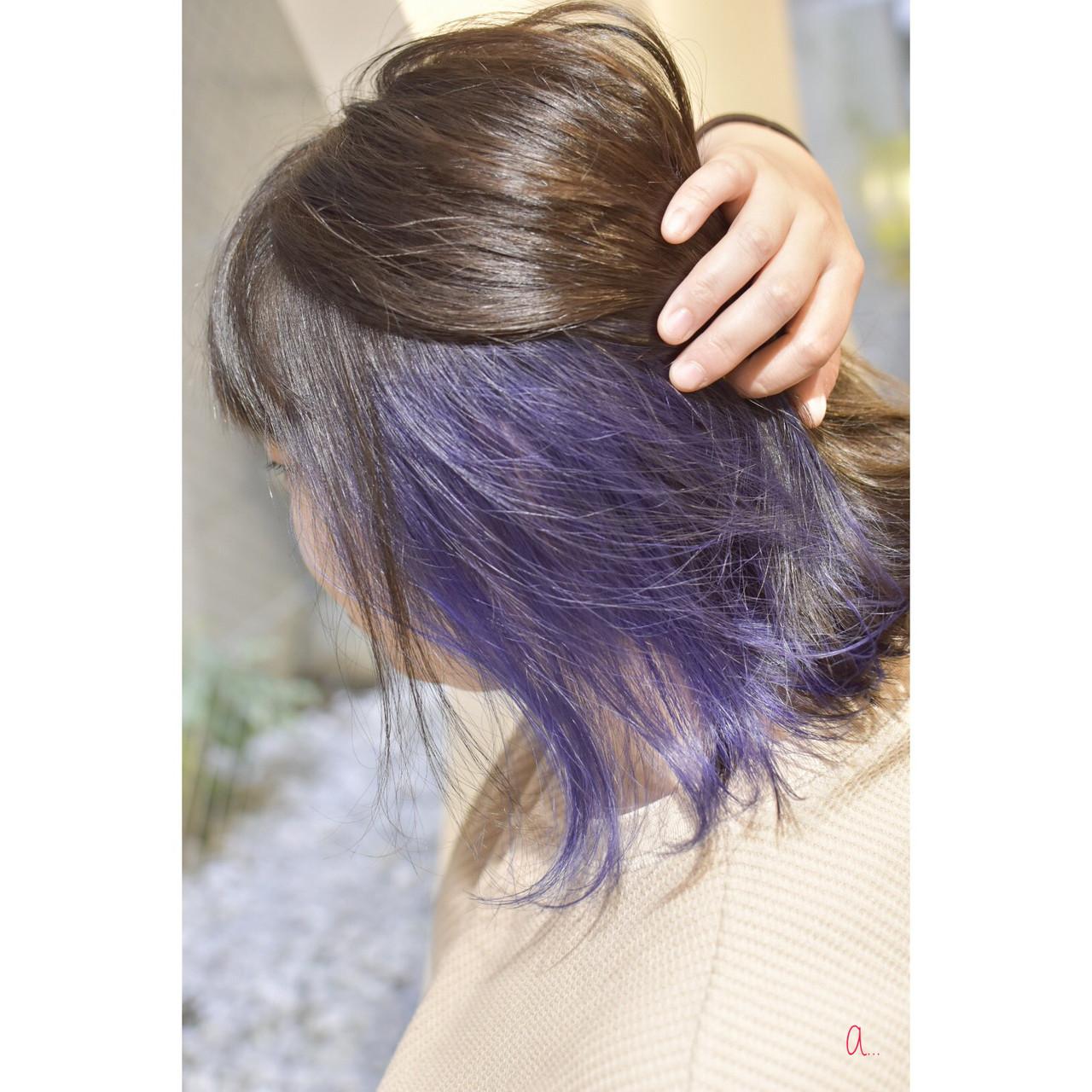 モード イヤリングカラー ボブ インナーブルー ヘアスタイルや髪型の写真・画像