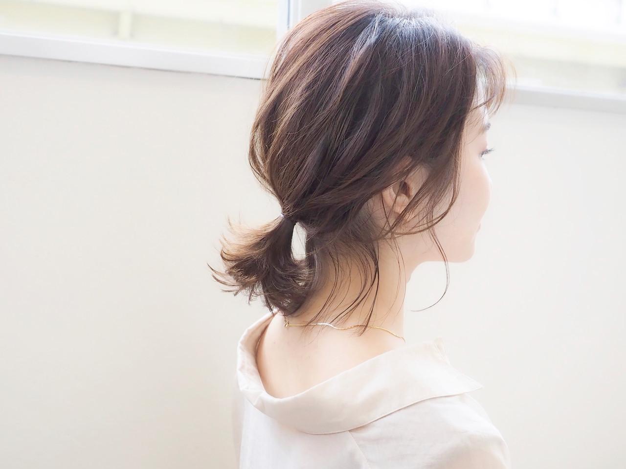 ミルクティーベージュ ポニーテール ボブ ポニーテールアレンジ ヘアスタイルや髪型の写真・画像