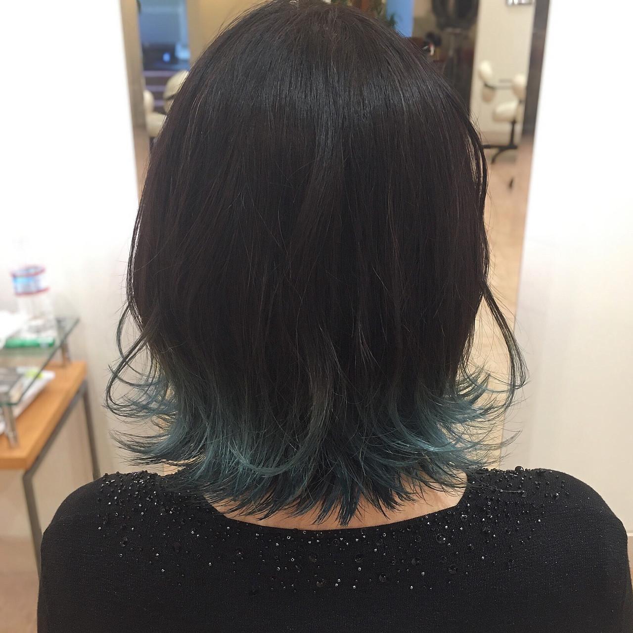 ネイビーブルー Wカラー モード ブルー ヘアスタイルや髪型の写真・画像