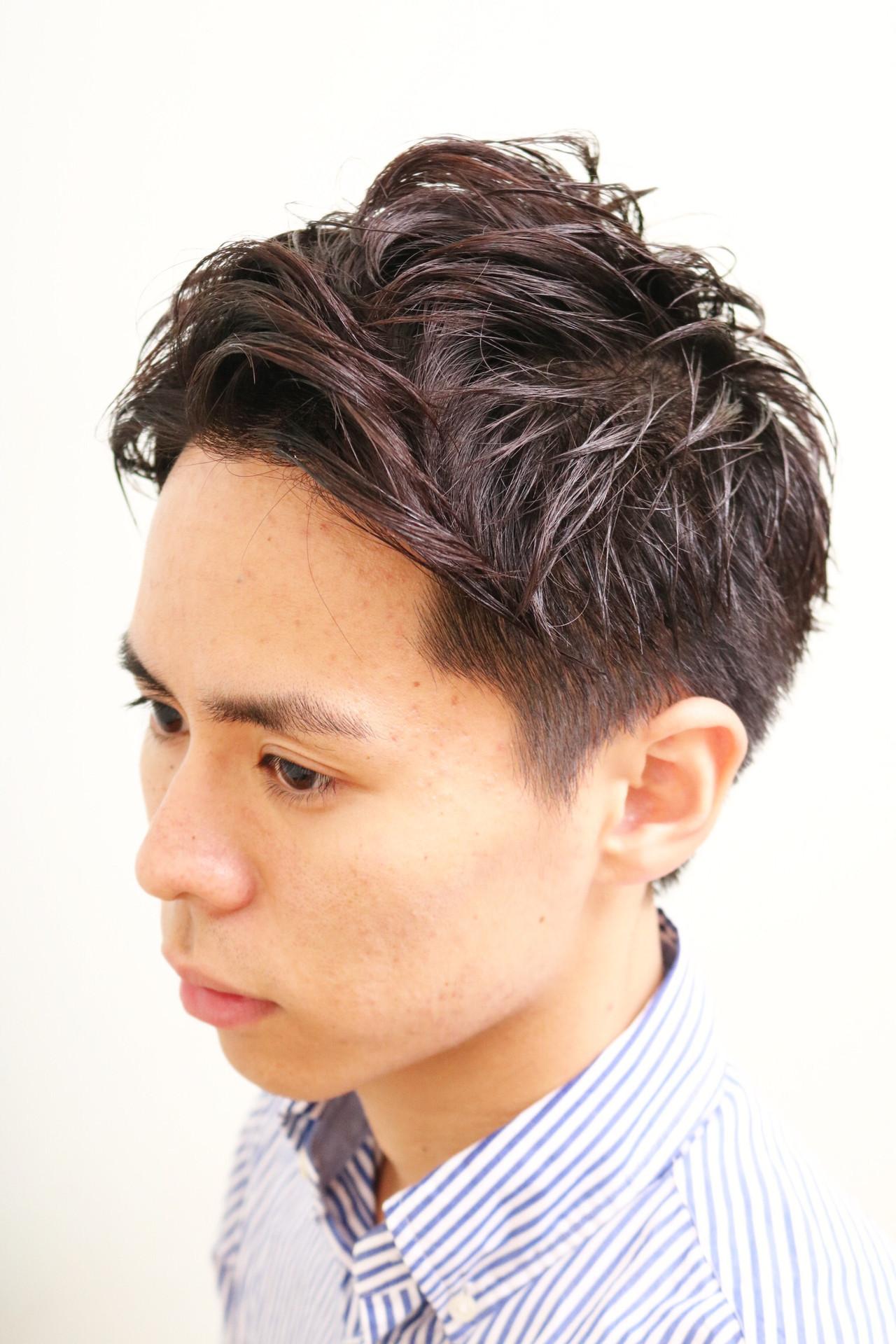 ナチュラル ショート ツーブロック パーマ ヘアスタイルや髪型の写真・画像