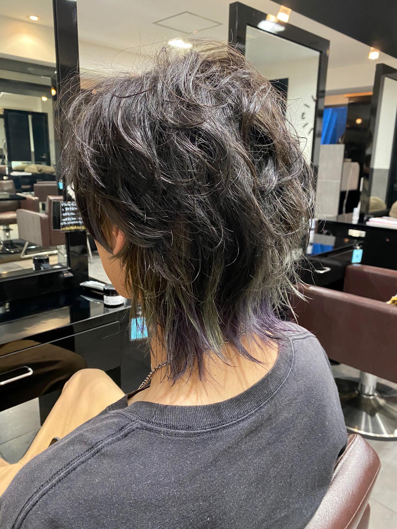 メンズ メンズカット マッシュウルフ モード ヘアスタイルや髪型の写真・画像