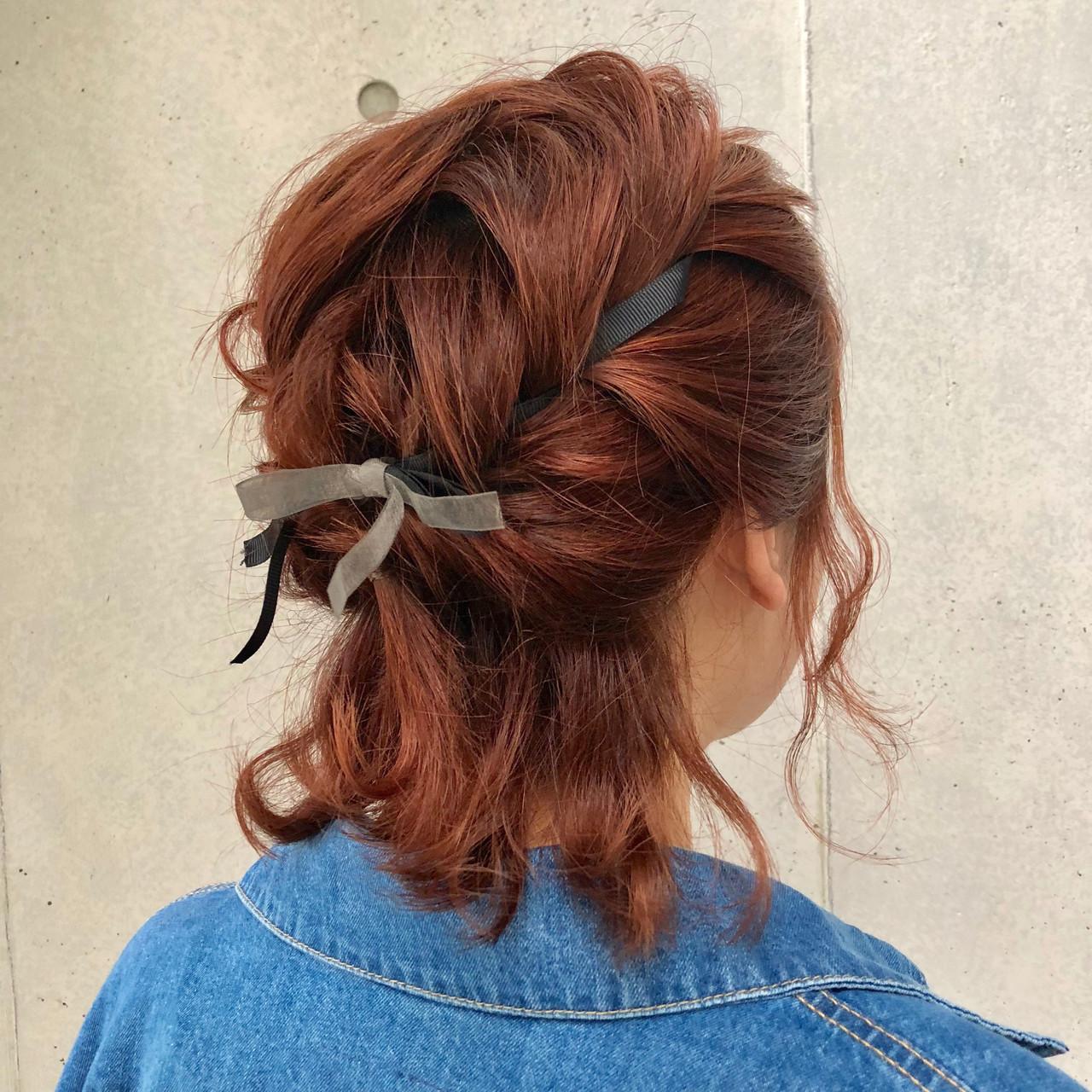 モテボブ 結婚式ヘアアレンジ ヘアアレンジ ナチュラル ヘアスタイルや髪型の写真・画像