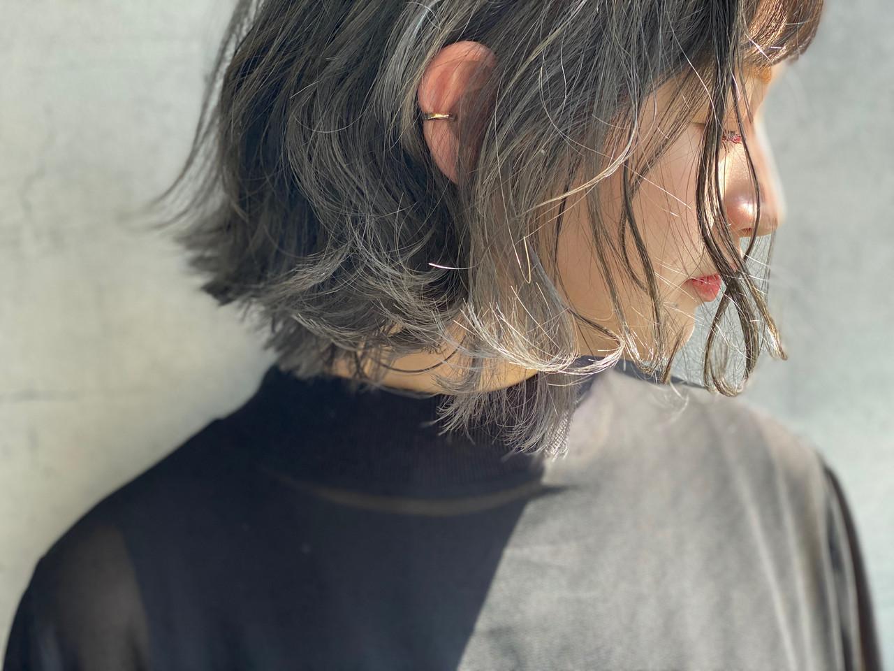 グレージュ モード オリーブグレージュ ボブ ヘアスタイルや髪型の写真・画像