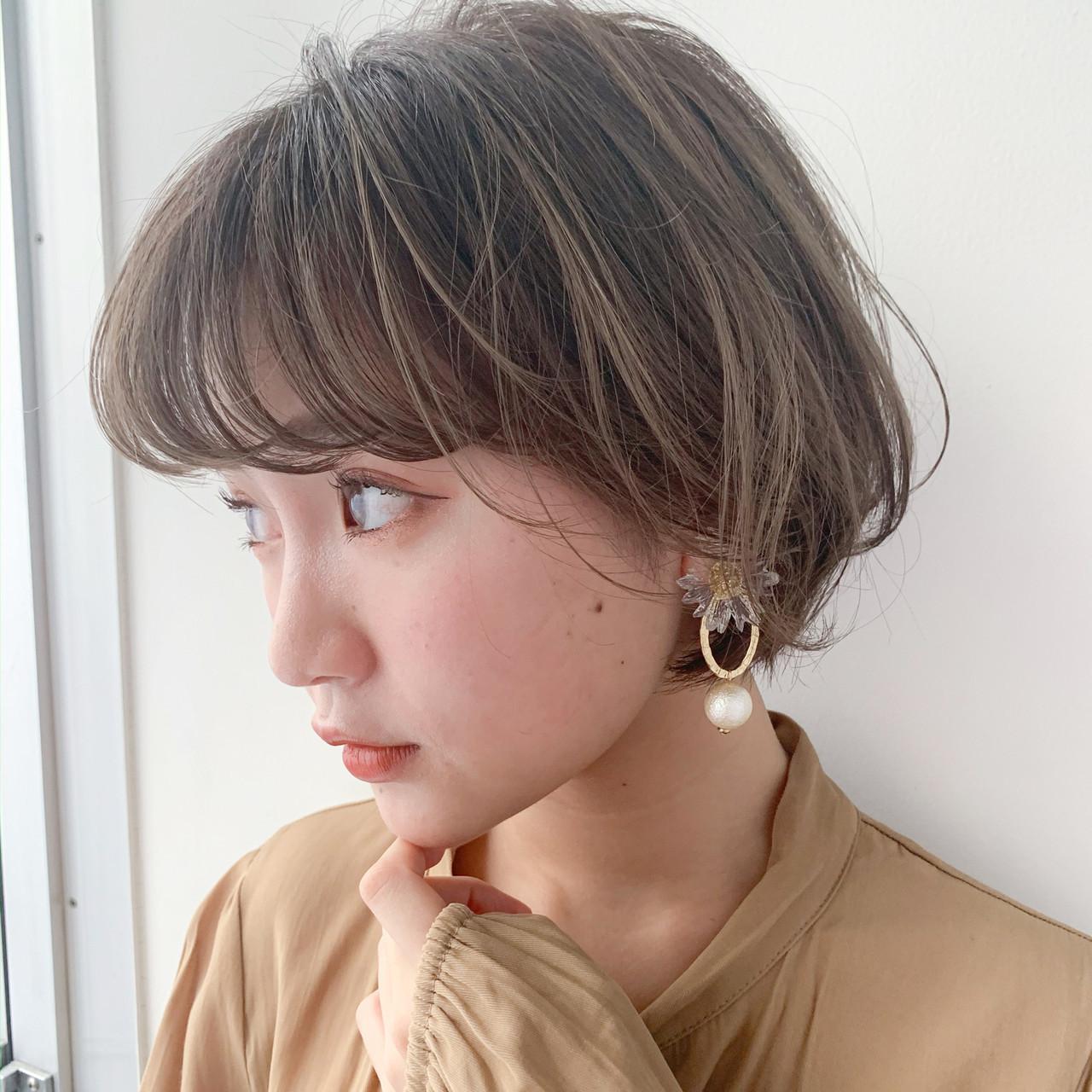 アンニュイほつれヘア 大人かわいい ショートヘア ガーリー ヘアスタイルや髪型の写真・画像