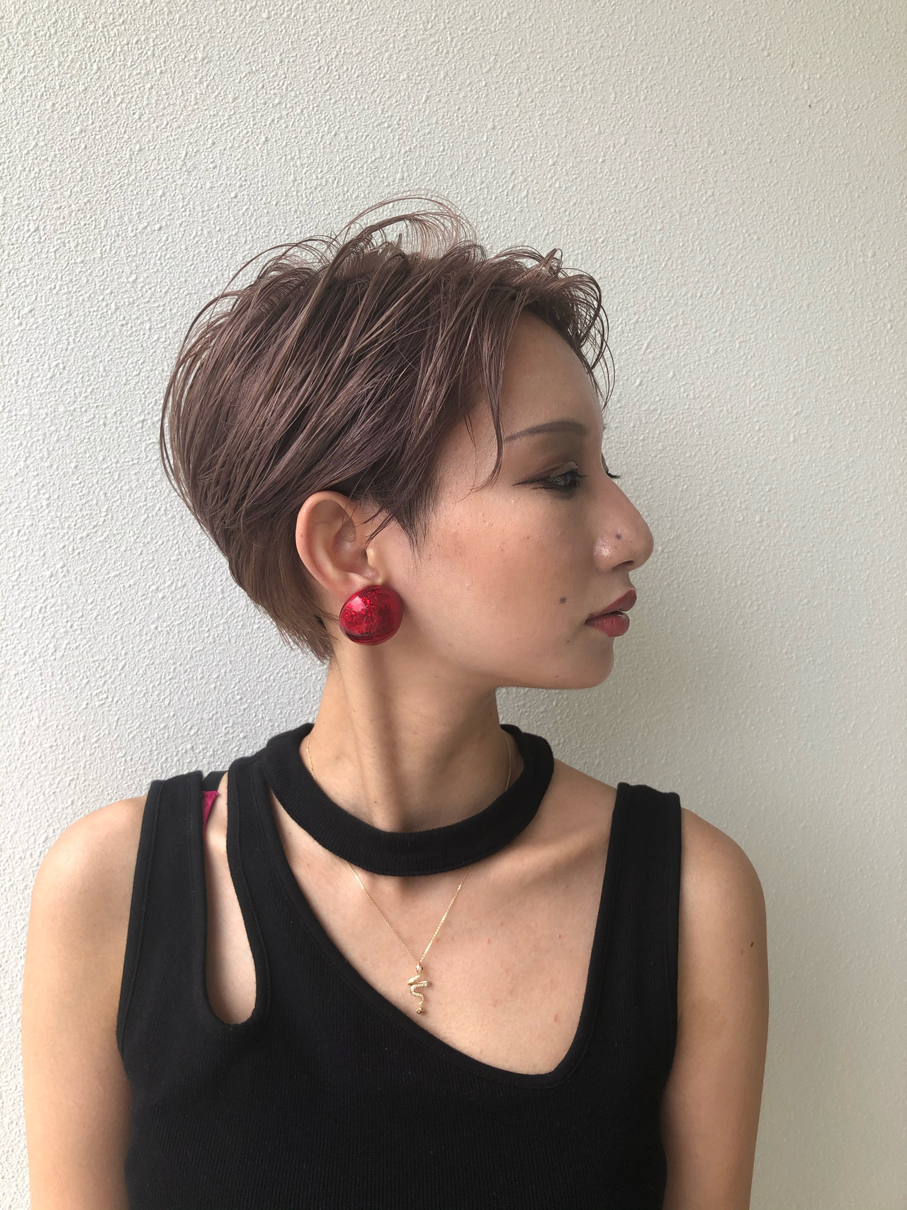 ハンサムバング ベリーショート ハンサムショート ウェットヘア ヘアスタイルや髪型の写真・画像