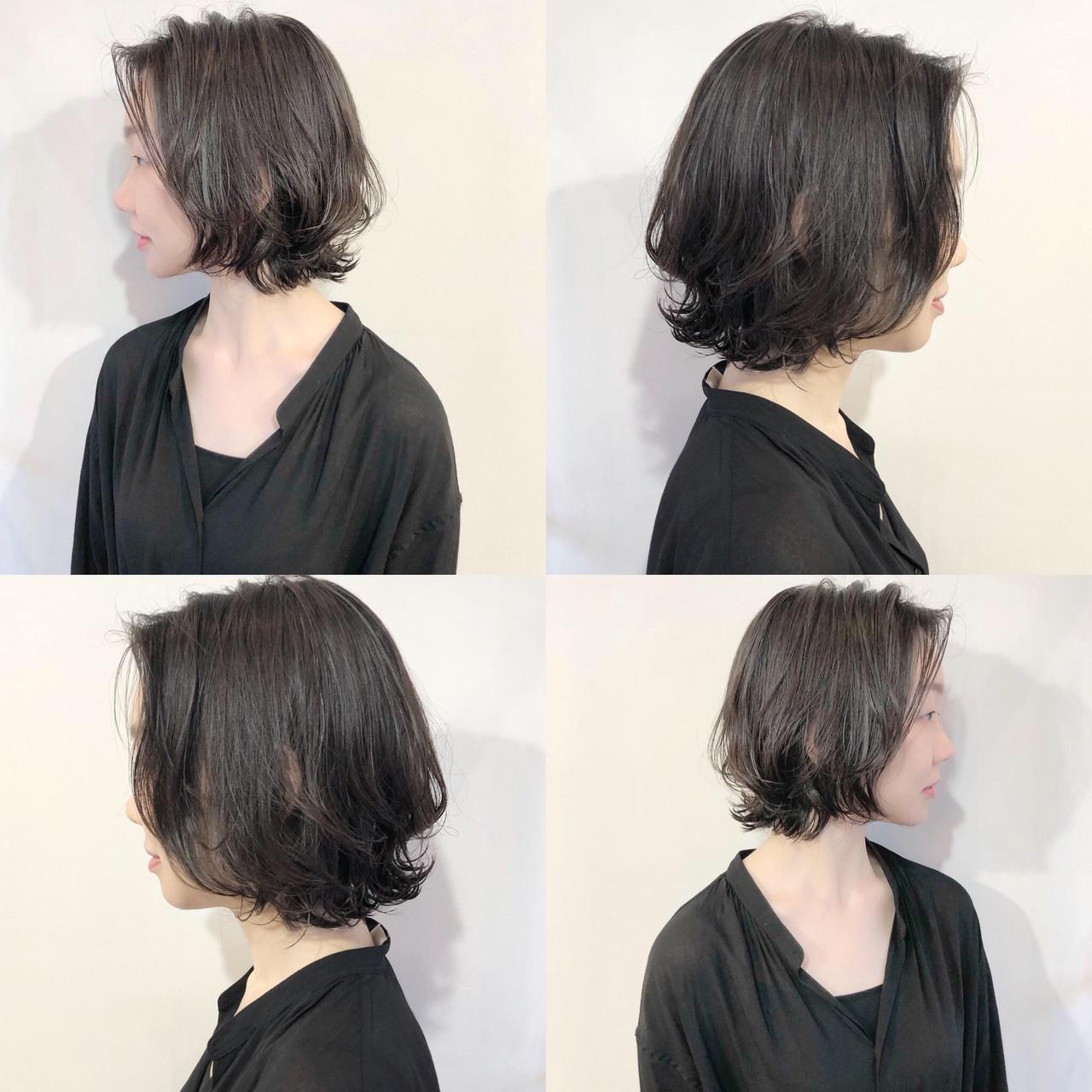 小顔ヘア 黒髪 小顔ショート 大人かわいい ヘアスタイルや髪型の写真・画像