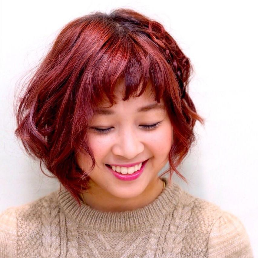 ヘアアレンジ 編み込み マルサラ ガーリー ヘアスタイルや髪型の写真・画像