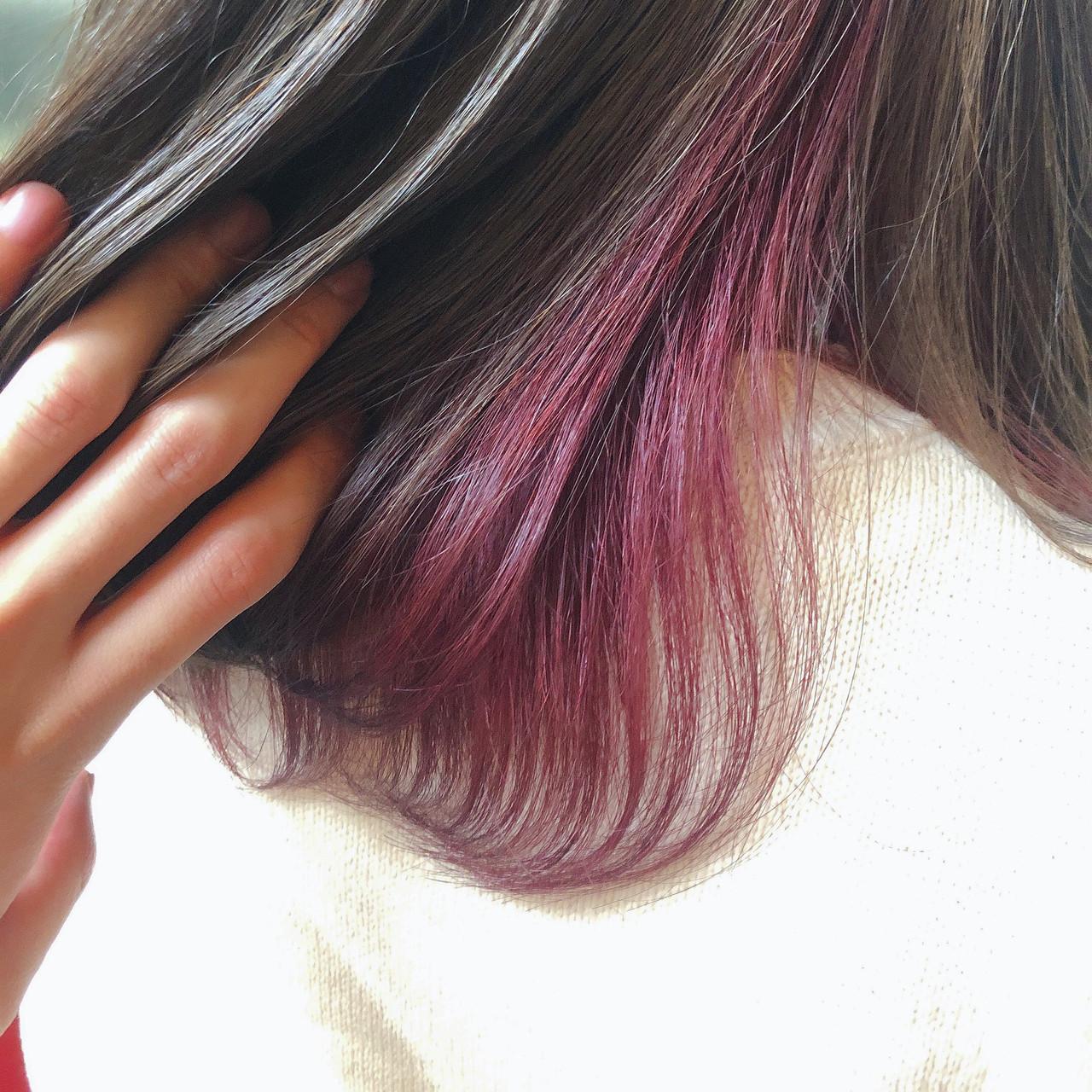 フェミニン ラベンダーピンク ピンク インナーピンク ヘアスタイルや髪型の写真・画像