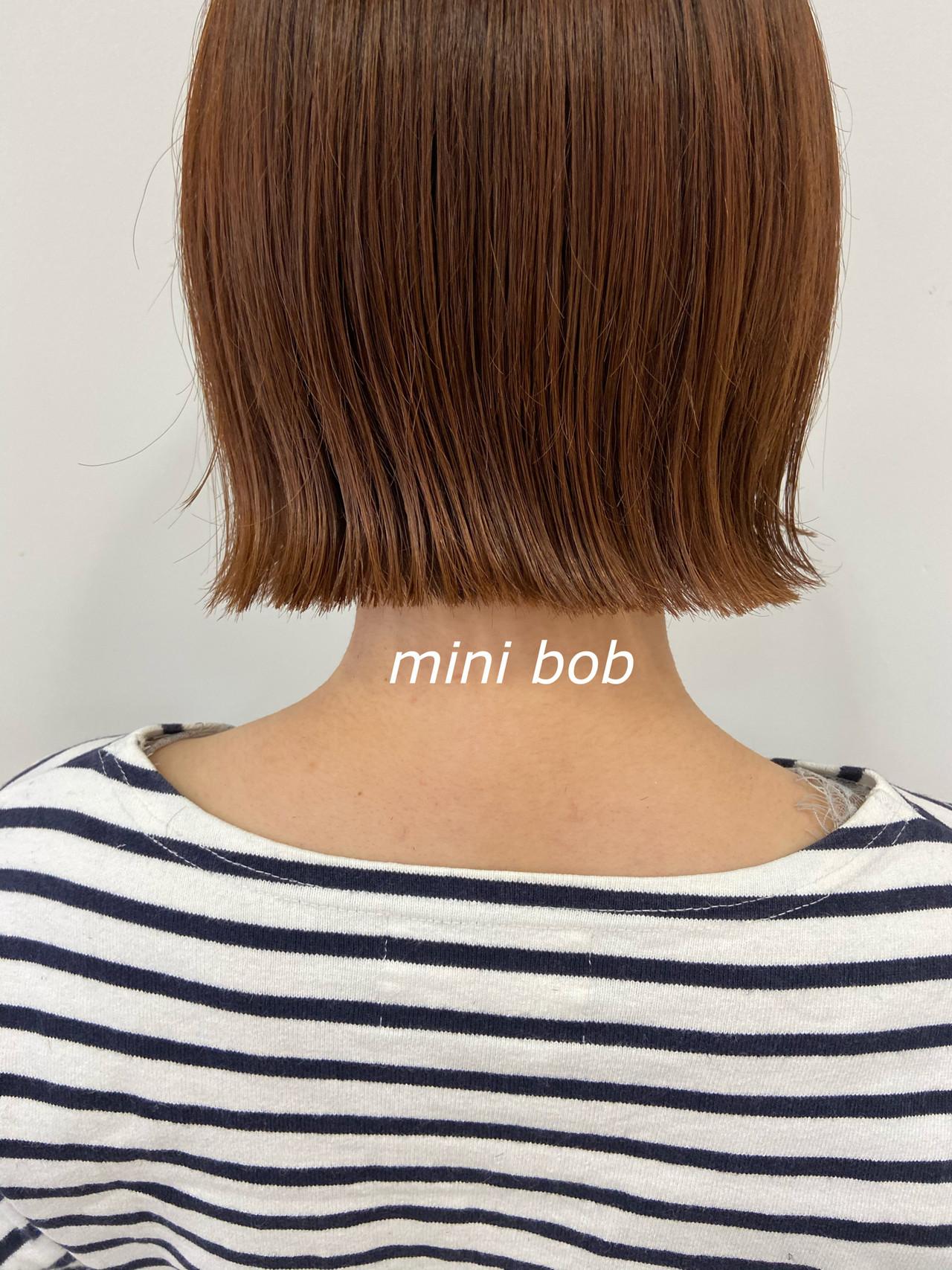 オレンジブラウン ボブ ショートボブ ナチュラル ヘアスタイルや髪型の写真・画像
