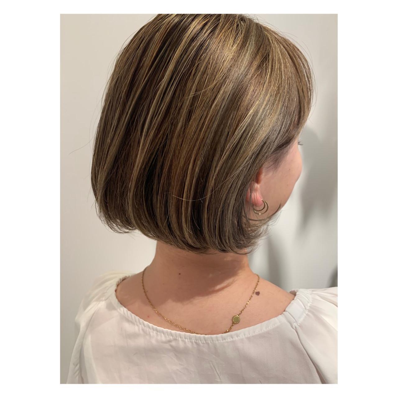 ハイトーンボブ ハイトーンカラー ショートボブ フェミニン ヘアスタイルや髪型の写真・画像