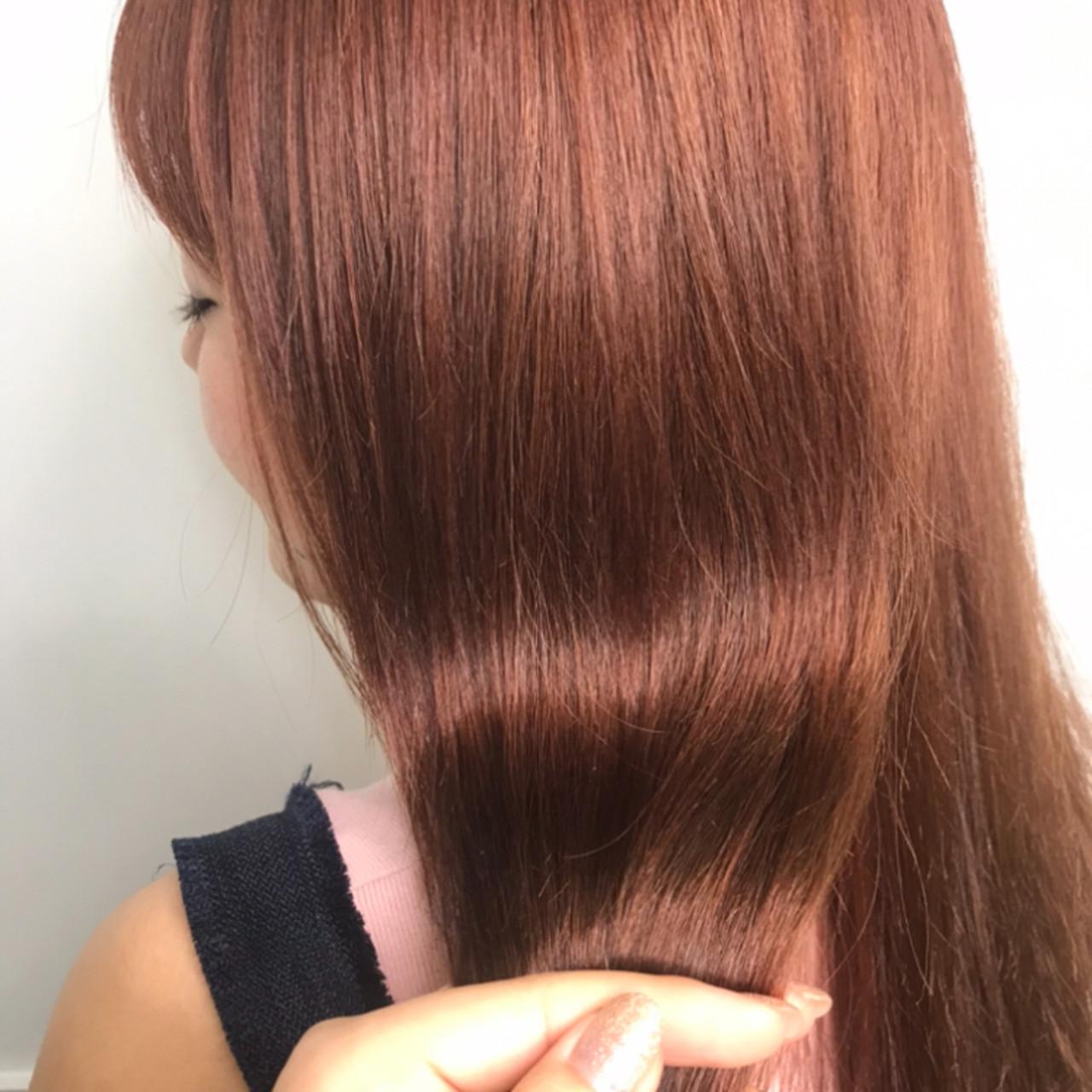 オレンジブラウン ストリート セミロング アプリコットオレンジ ヘアスタイルや髪型の写真・画像