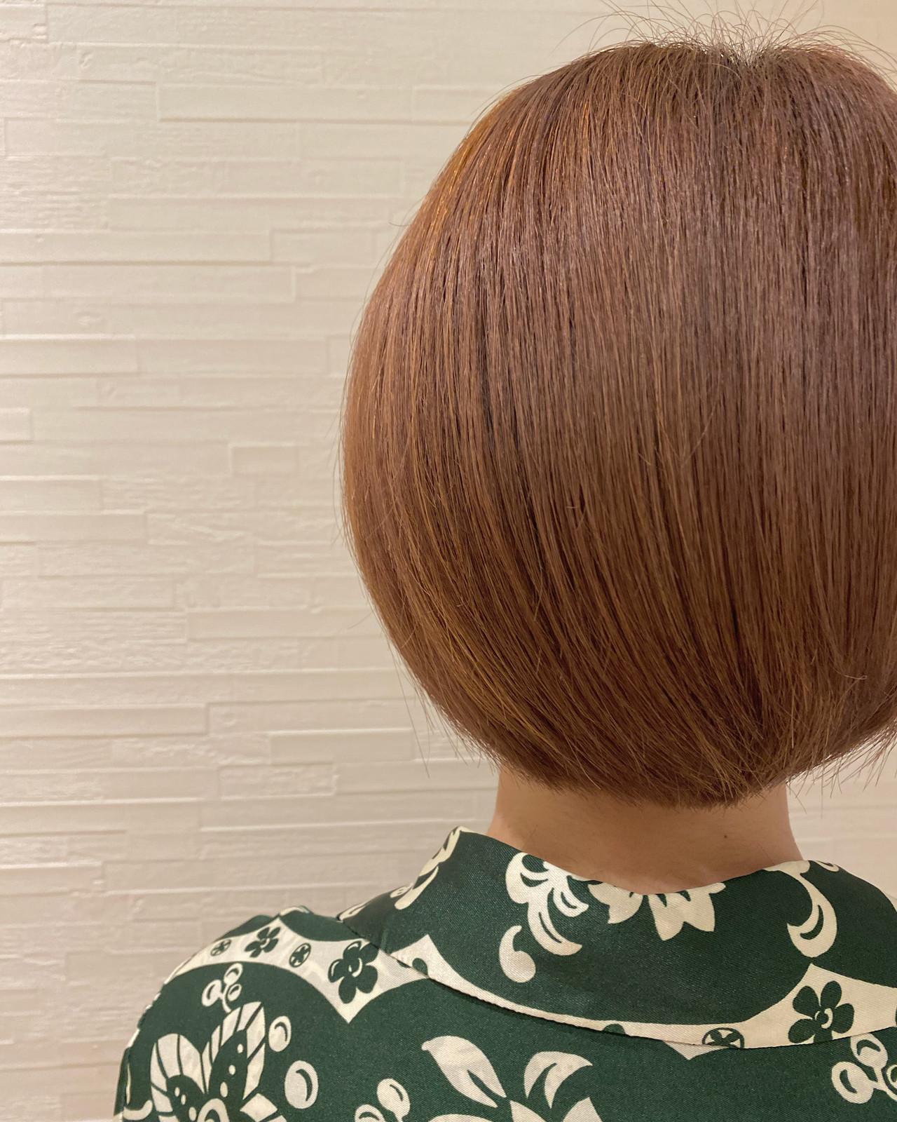 オレンジベージュ ショート ショートボブ ショートヘア ヘアスタイルや髪型の写真・画像