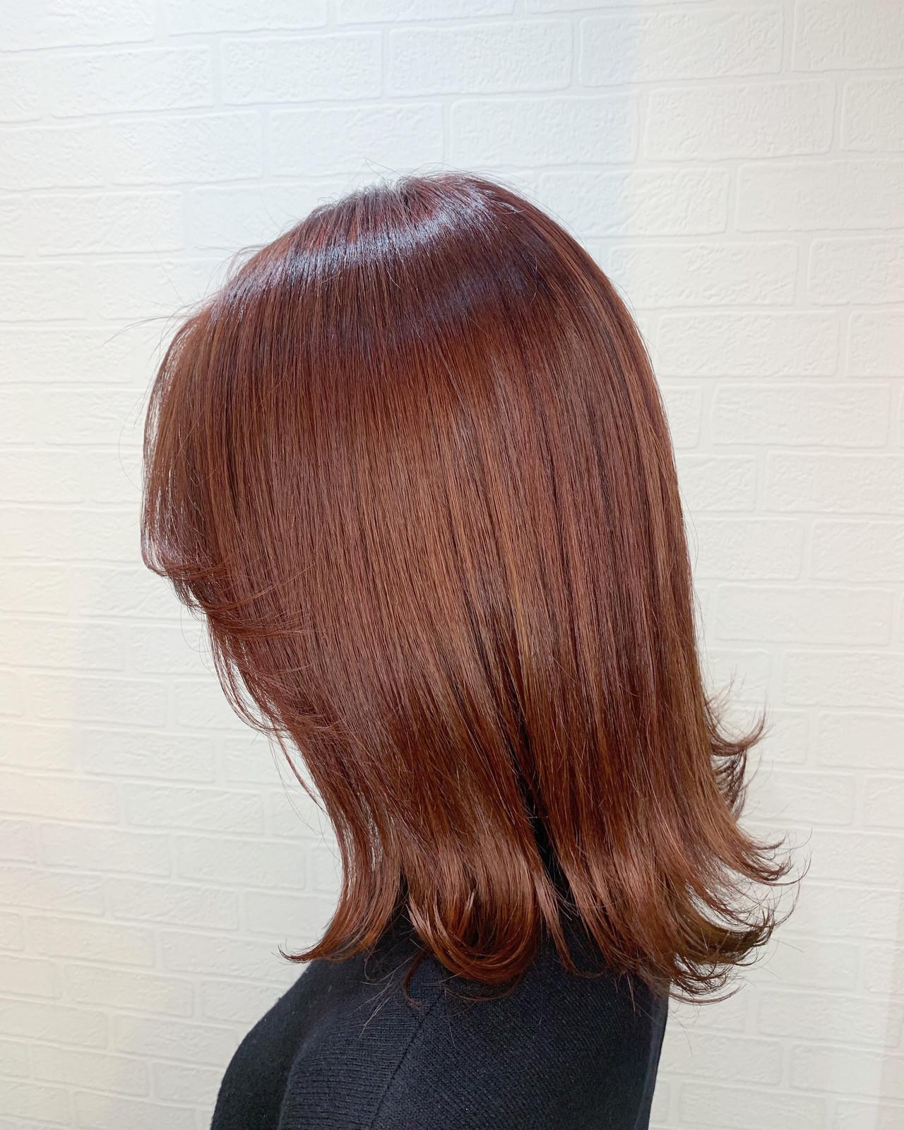 オレンジカラー ミディアム ダブルカラー ガーリー ヘアスタイルや髪型の写真・画像