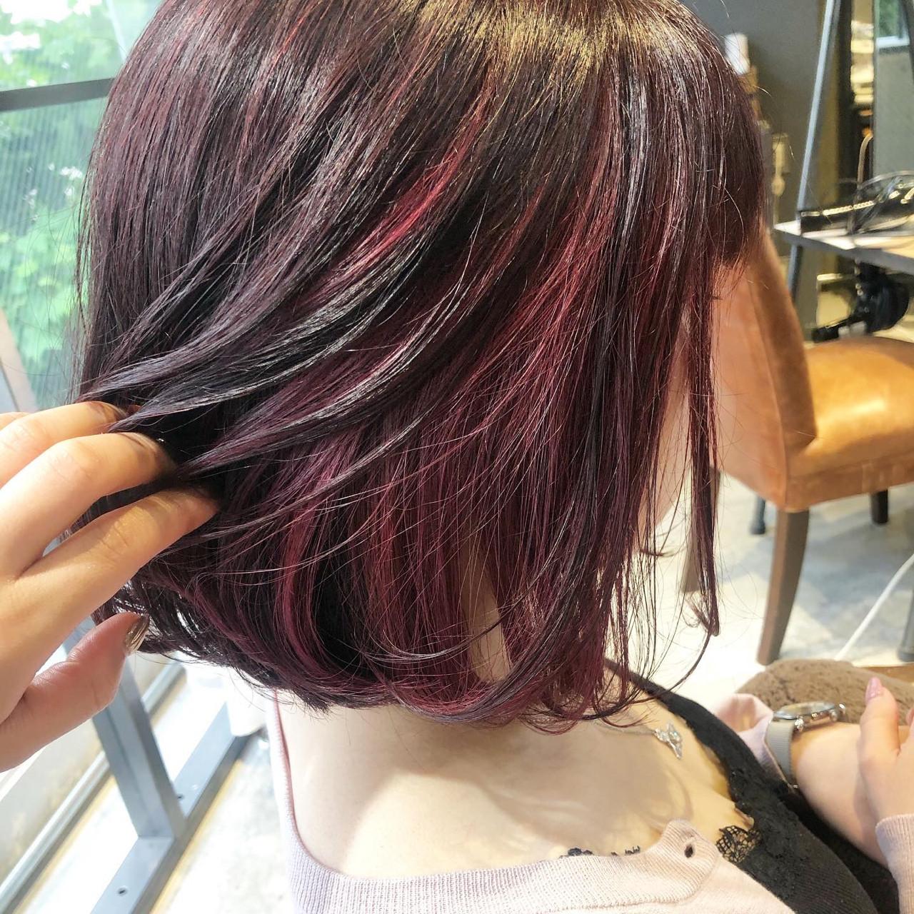 ガーリー ボブ ラベンダーピンク インナーカラー ヘアスタイルや髪型の写真・画像