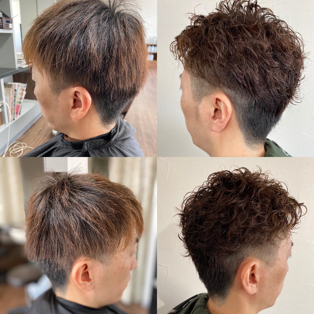 ストリート ショート スパイラルパーマ メンズパーマ ヘアスタイルや髪型の写真・画像