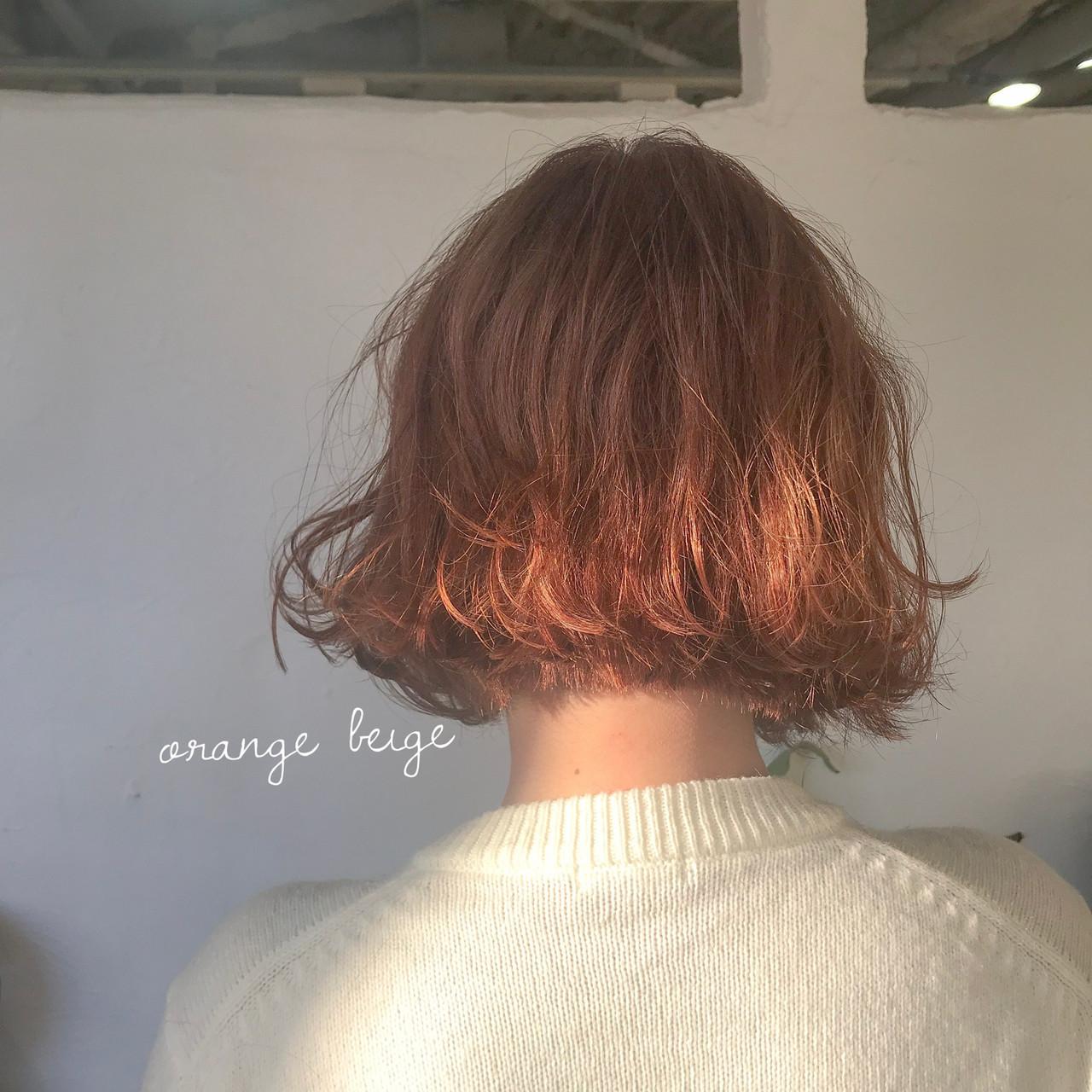 ピンクアッシュ オレンジカラー ナチュラル オレンジベージュ ヘアスタイルや髪型の写真・画像
