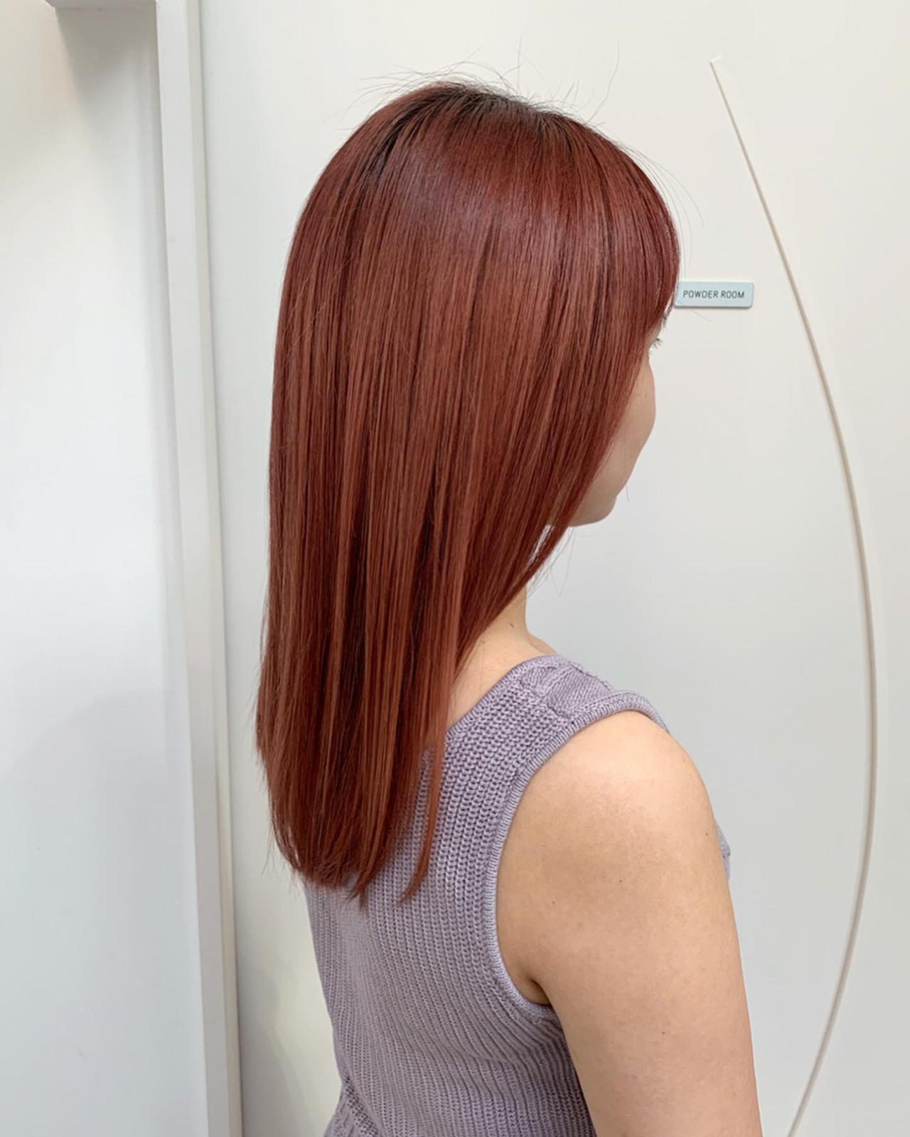 オレンジカラー ハイトーンカラー ナチュラル ピンクカラー ヘアスタイルや髪型の写真・画像
