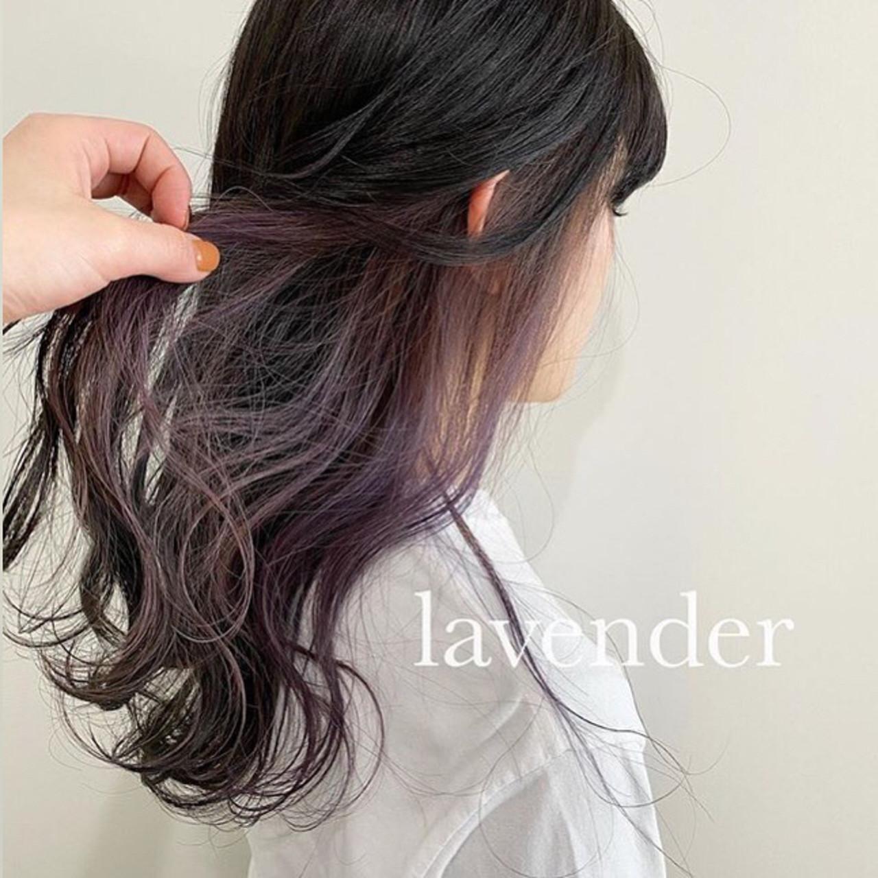 モード インナーカラー ブルーラベンダー ミディアム ヘアスタイルや髪型の写真・画像