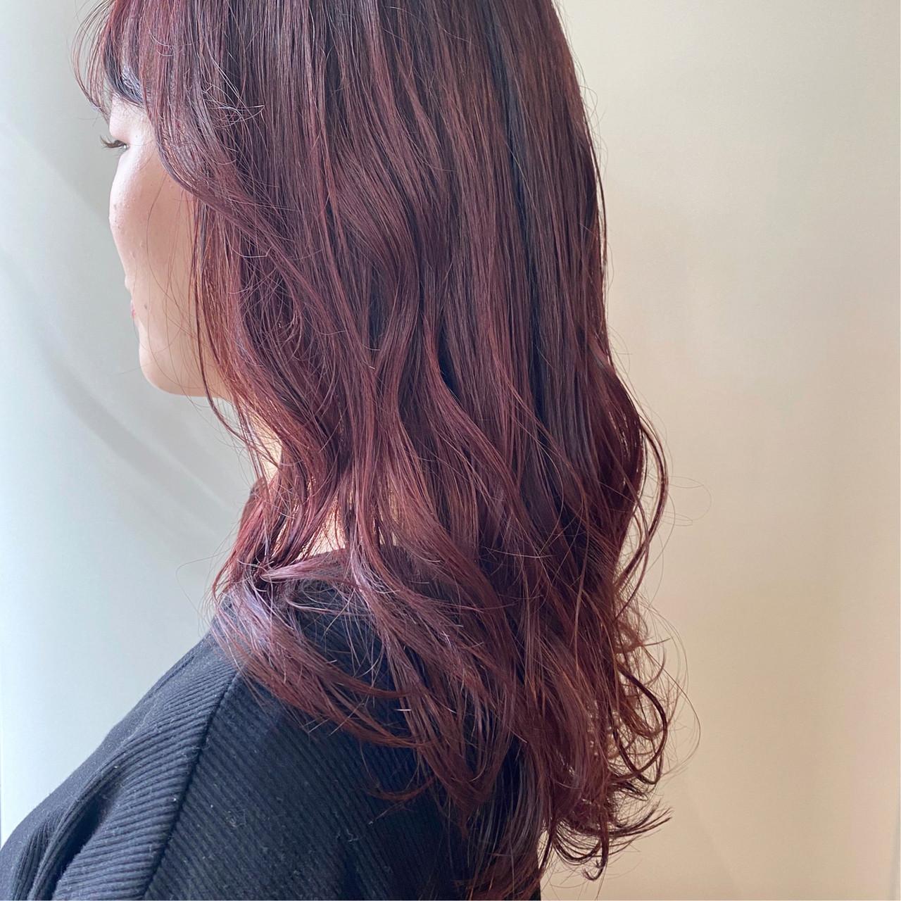 ミディアム ブリーチ無し ピンクブラウン ピンク ヘアスタイルや髪型の写真・画像