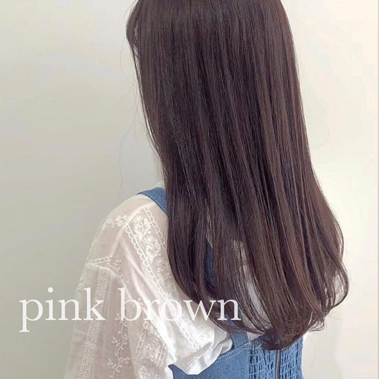 セミロング ピンクベージュ ナチュラル ピンクラベンダー ヘアスタイルや髪型の写真・画像