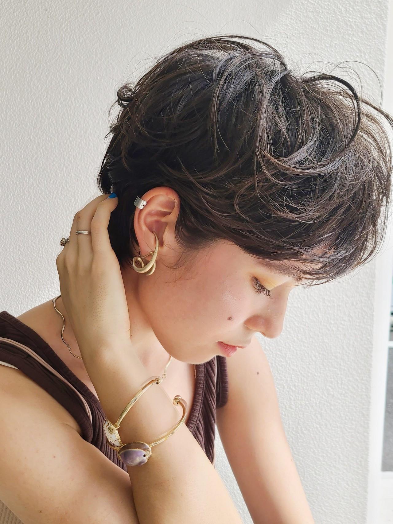 ショート ニュアンスパーマ ハンサムショート ショートボブ ヘアスタイルや髪型の写真・画像