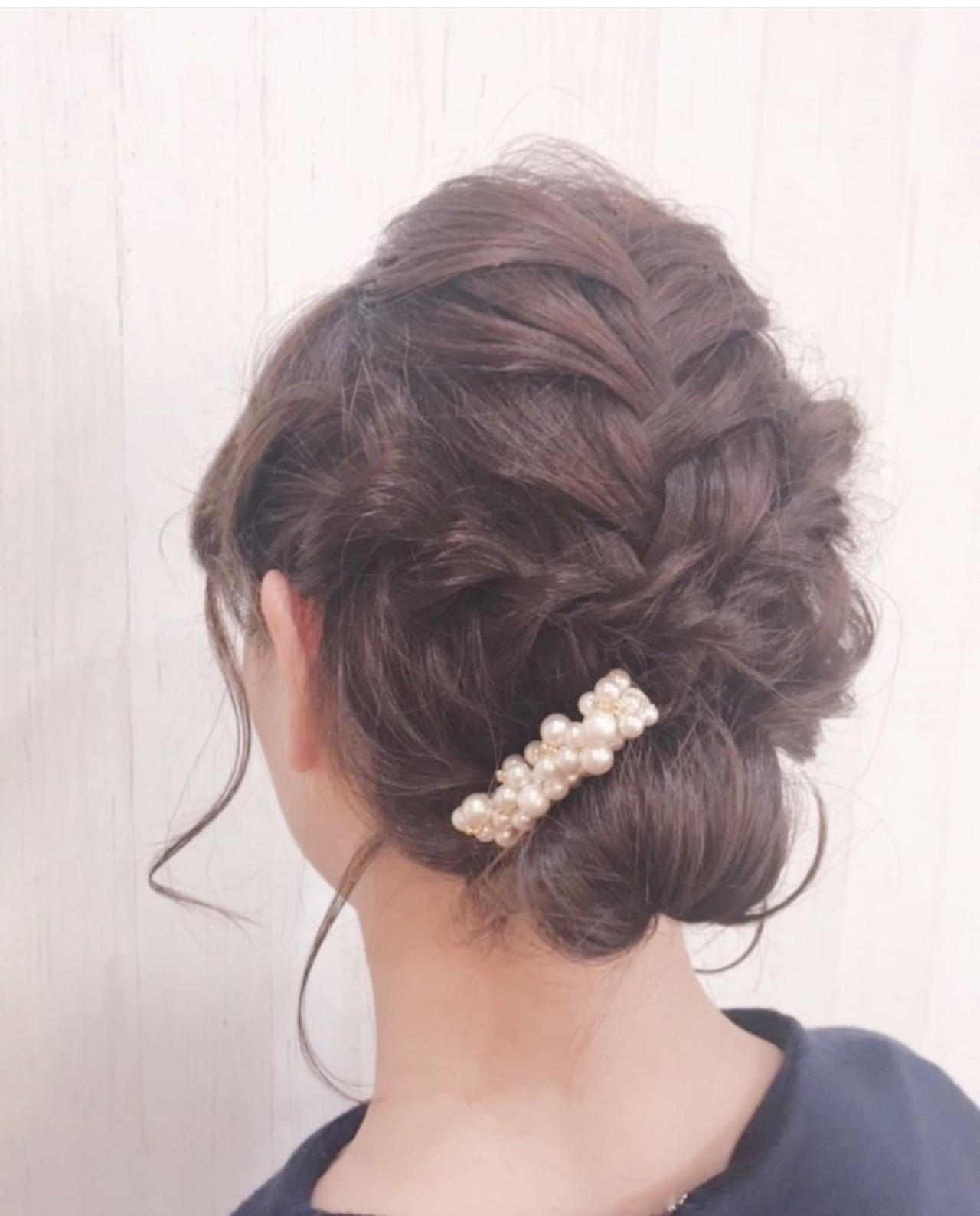 フェミニン 結婚式ヘアアレンジ 簡単ヘアアレンジ ミディアム ヘアスタイルや髪型の写真・画像
