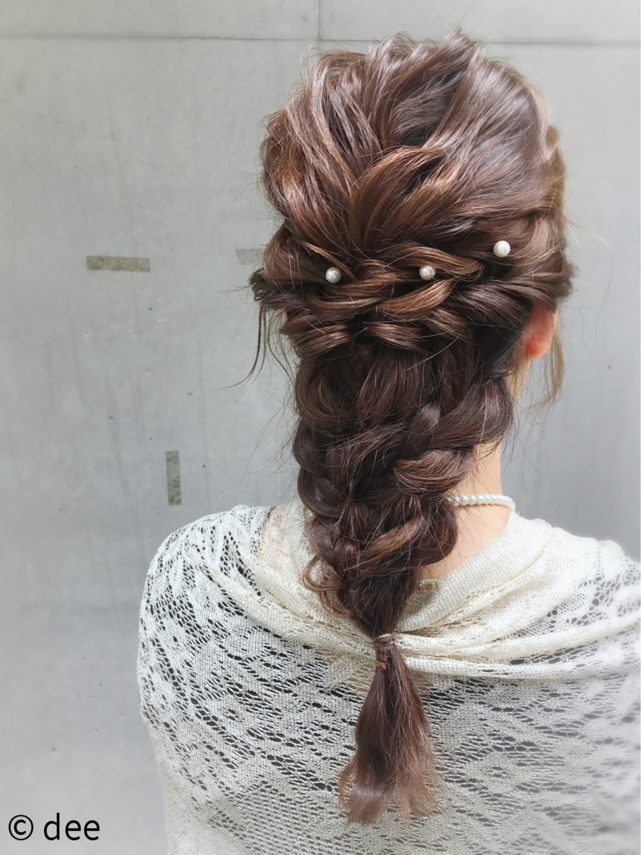 結婚式 編み込み パールアクセ ヘアアレンジ ヘアスタイルや髪型の写真・画像