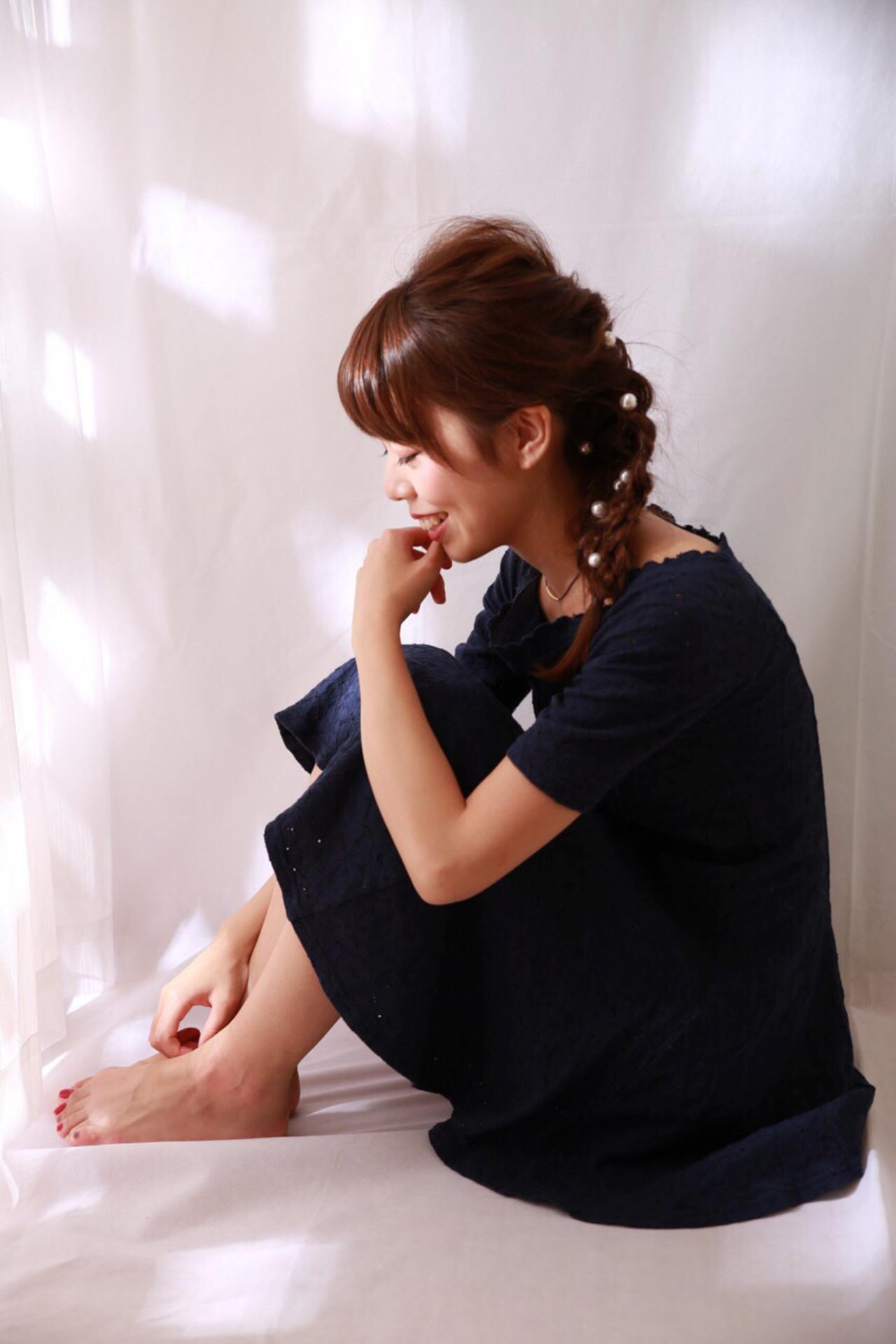 ガーリー パールアクセ ロング ヘアピン ヘアスタイルや髪型の写真・画像