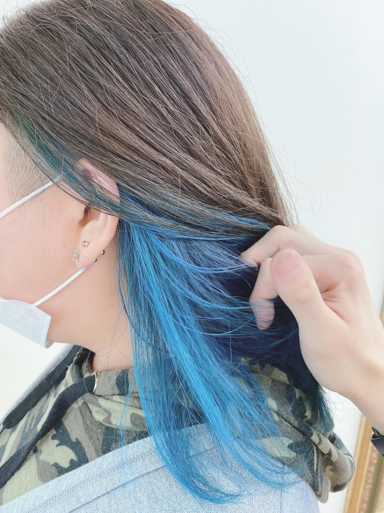ナチュラル可愛い インナーカラー ミディアム ショートボブ ヘアスタイルや髪型の写真・画像