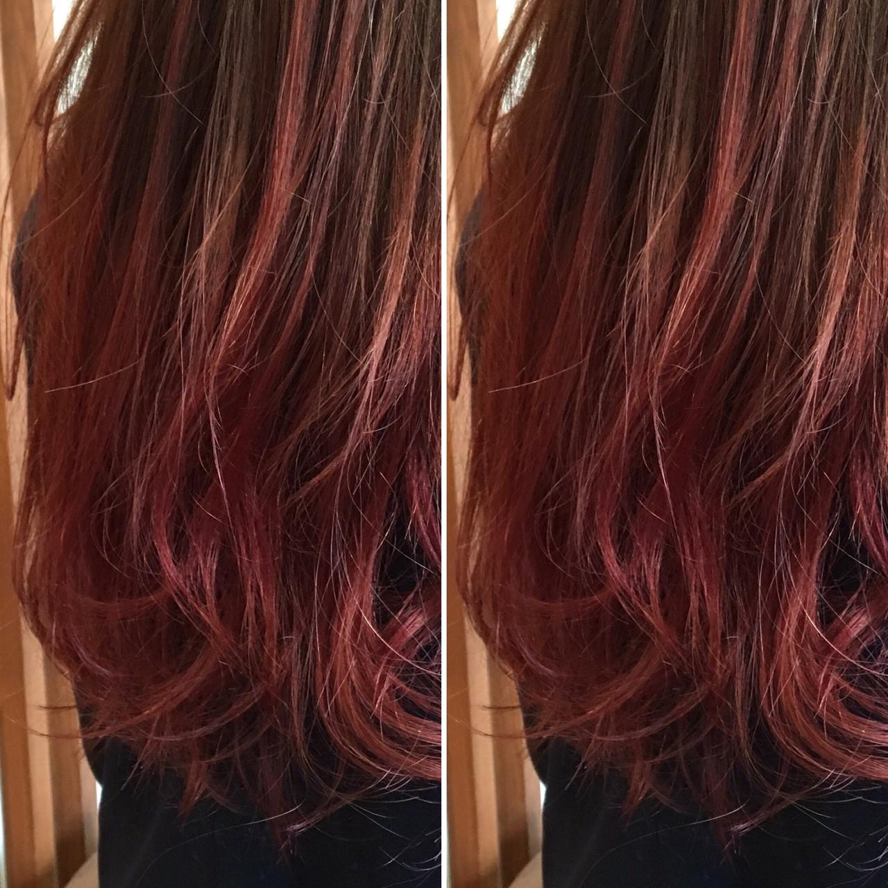 ロング グラデーションカラー ストリート ベリーピンク ヘアスタイルや髪型の写真・画像