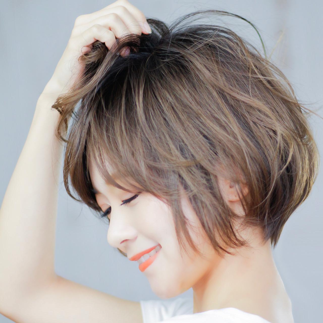 デート ショートボブ パーマ ショート ヘアスタイルや髪型の写真・画像