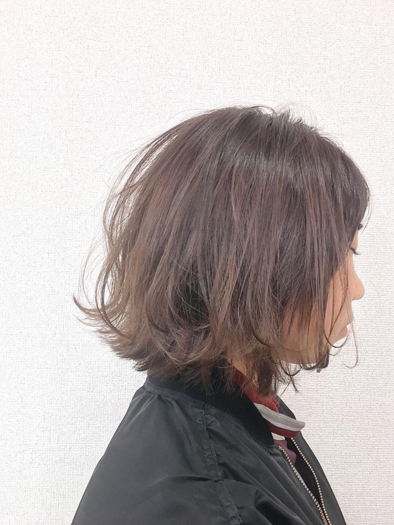 大人女子 ボブ アッシュ ハイライト ヘアスタイルや髪型の写真・画像