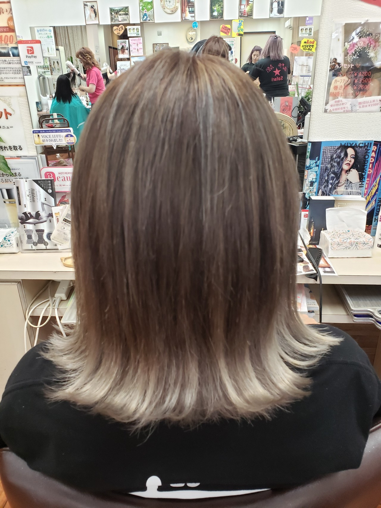 フェミニン グラデーションカラー ボブ ハイトーンカラー ヘアスタイルや髪型の写真・画像