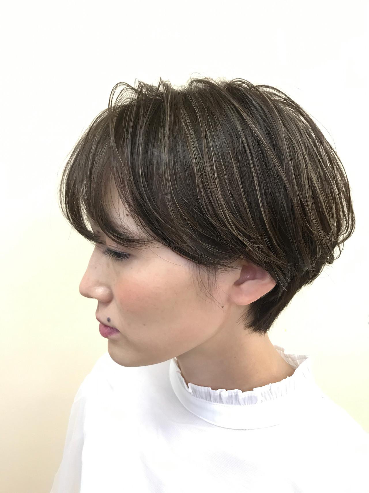 透明感カラー ショート ハイライト ショートボブ ヘアスタイルや髪型の写真・画像
