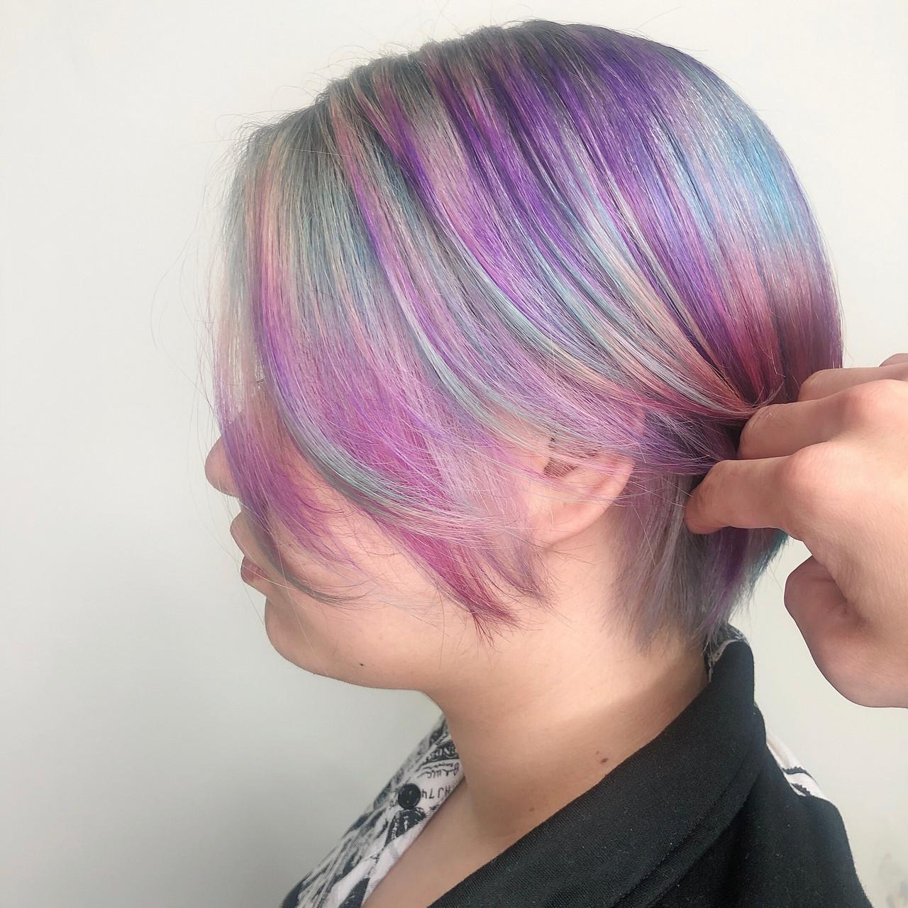 ハイトーン ハイトーンカラー 派手髪 ショート ヘアスタイルや髪型の写真・画像
