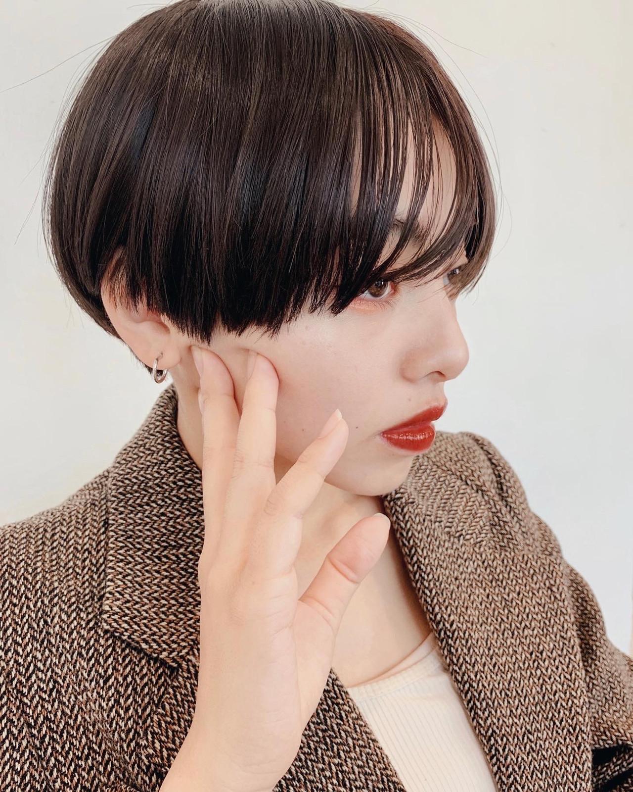 暗髪 モード ベリーショート ショートヘア ヘアスタイルや髪型の写真・画像