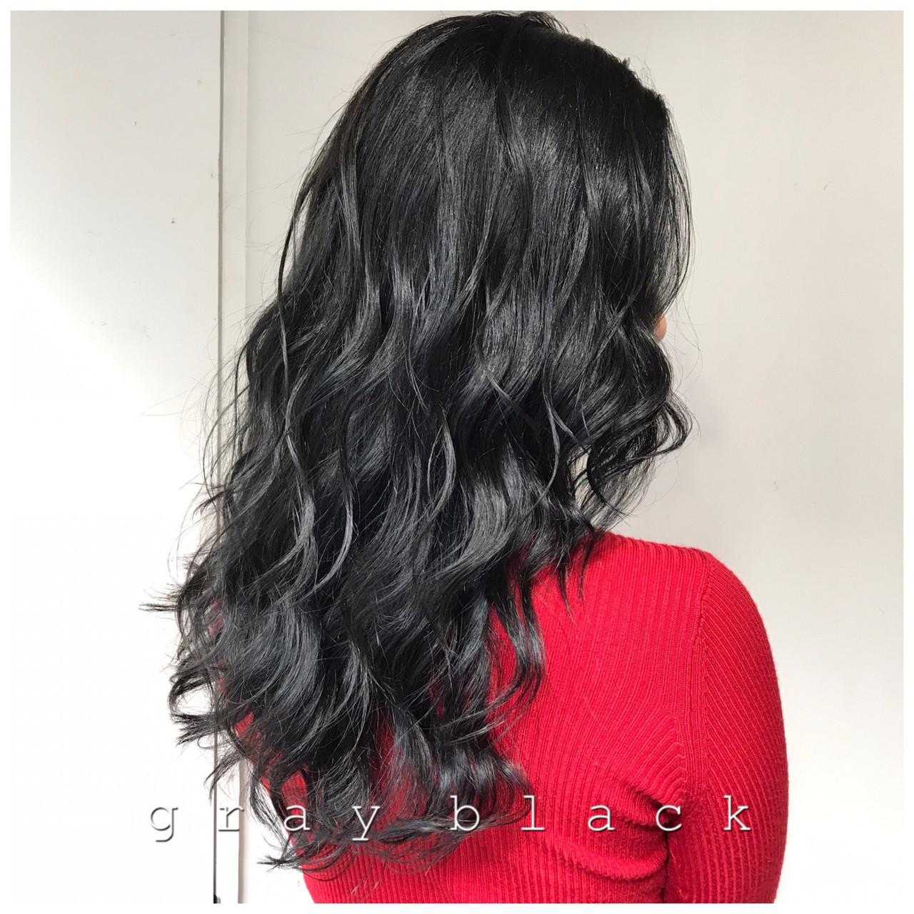 モード ミディアム アッシュグレージュ ネイビー ヘアスタイルや髪型の写真・画像