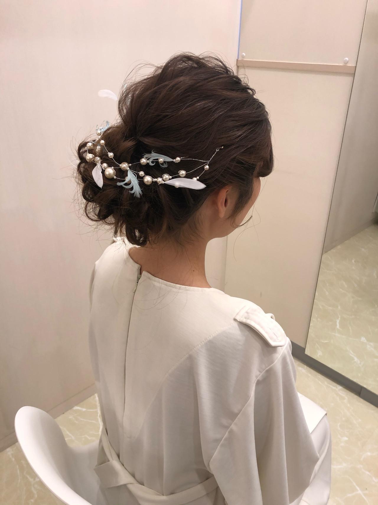 ヘアセット アップスタイル フェミニン 結婚式 ヘアスタイルや髪型の写真・画像