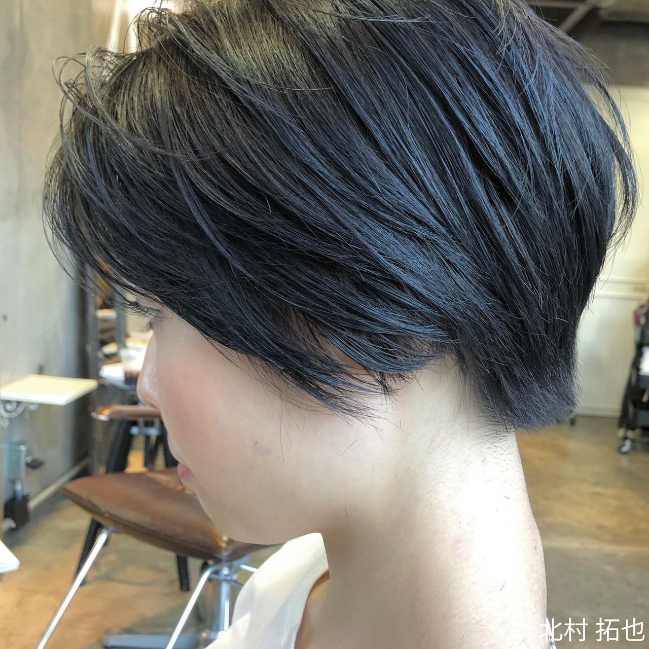 透明感カラー グレージュ ブルージュ ショート ヘアスタイルや髪型の写真・画像