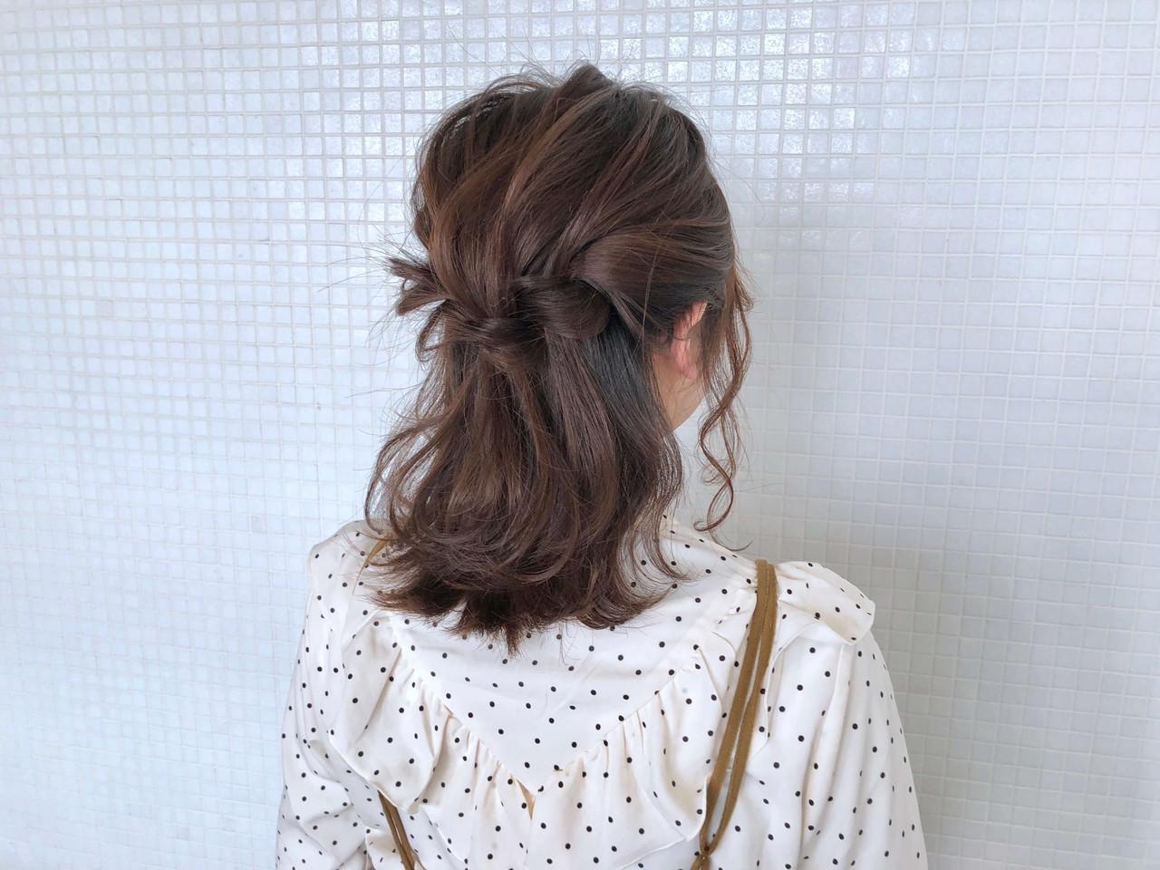 ツイスト ミディアム ナチュラル 簡単ヘアアレンジ ヘアスタイルや髪型の写真・画像