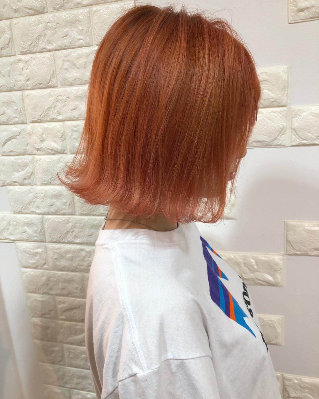 オレンジ ボブ ナチュラル アプリコットオレンジ ヘアスタイルや髪型の写真・画像
